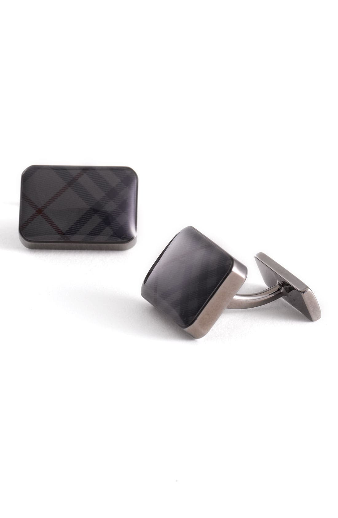 Alternate Image 1 Selected - Burberry Check Rectangle Cuff Links