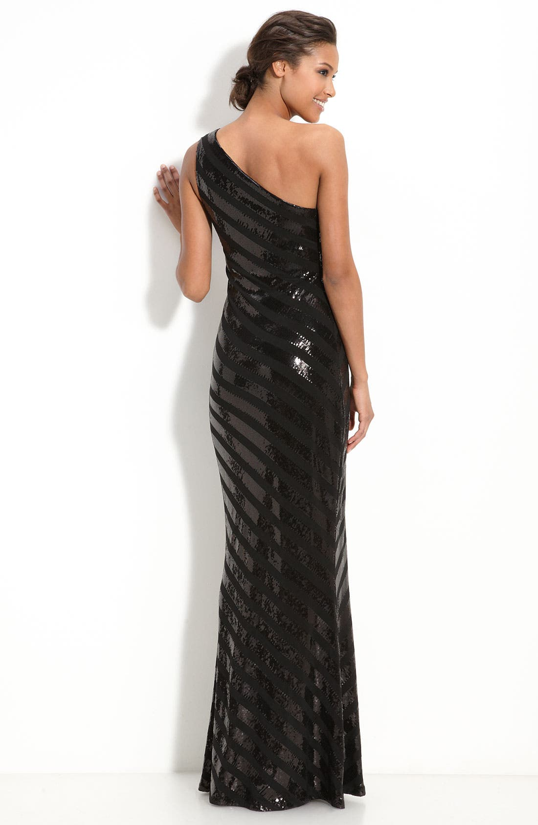 Alternate Image 2  - David Meister Sequin Stripe Jersey Gown