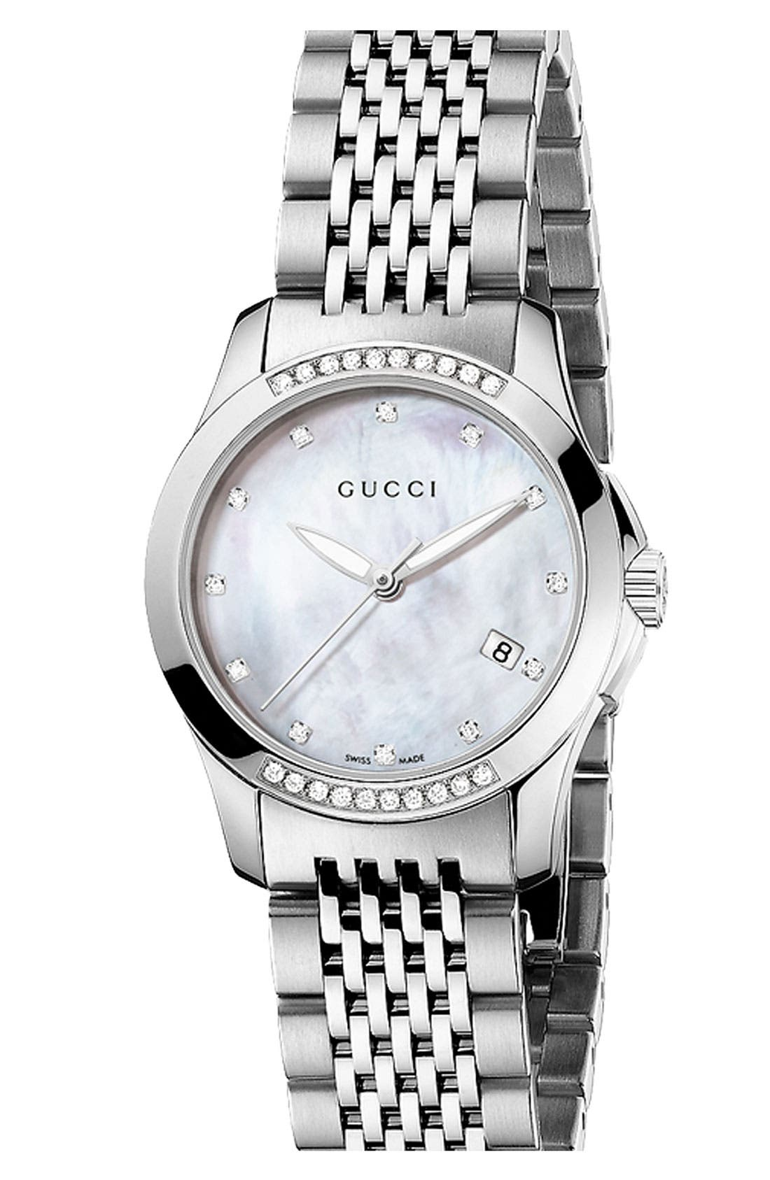 Alternate Image 1 Selected - Gucci 'G Timeless' Small Diamond Bracelet Watch, 27mm