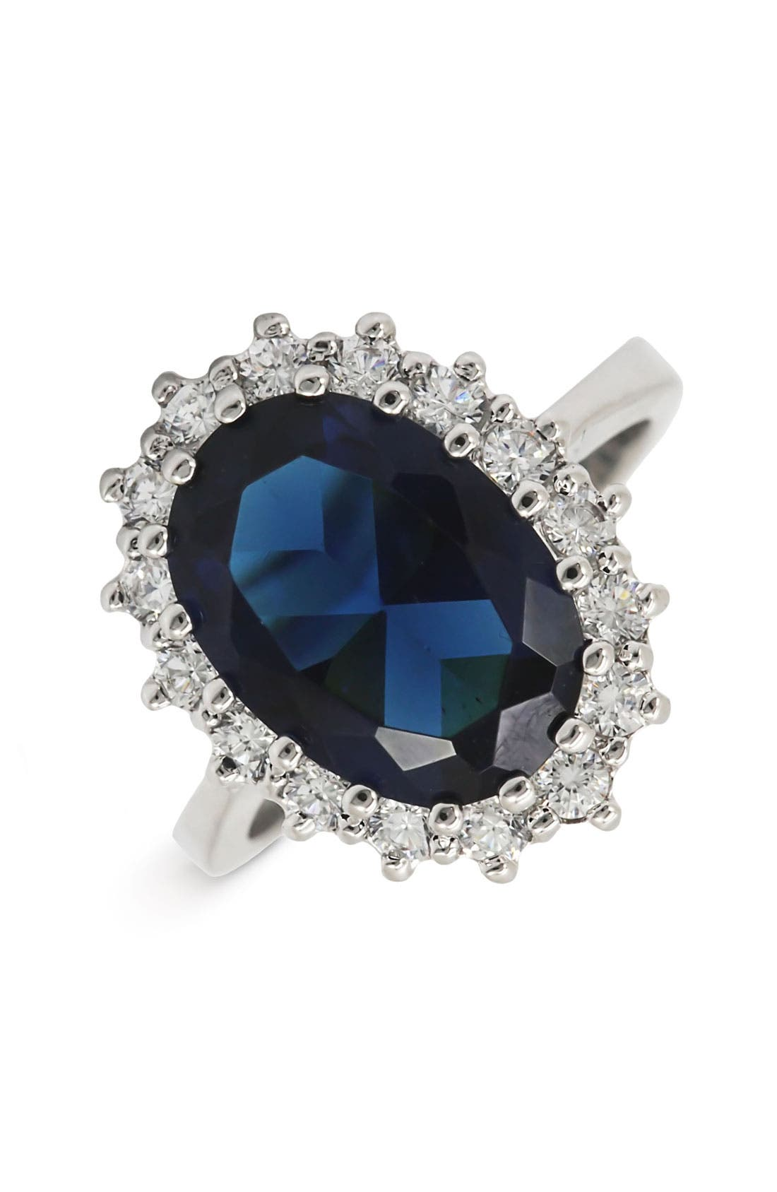 Main Image - Ariella Collection Blue Stone & Cubic Zirconia Oval Ring