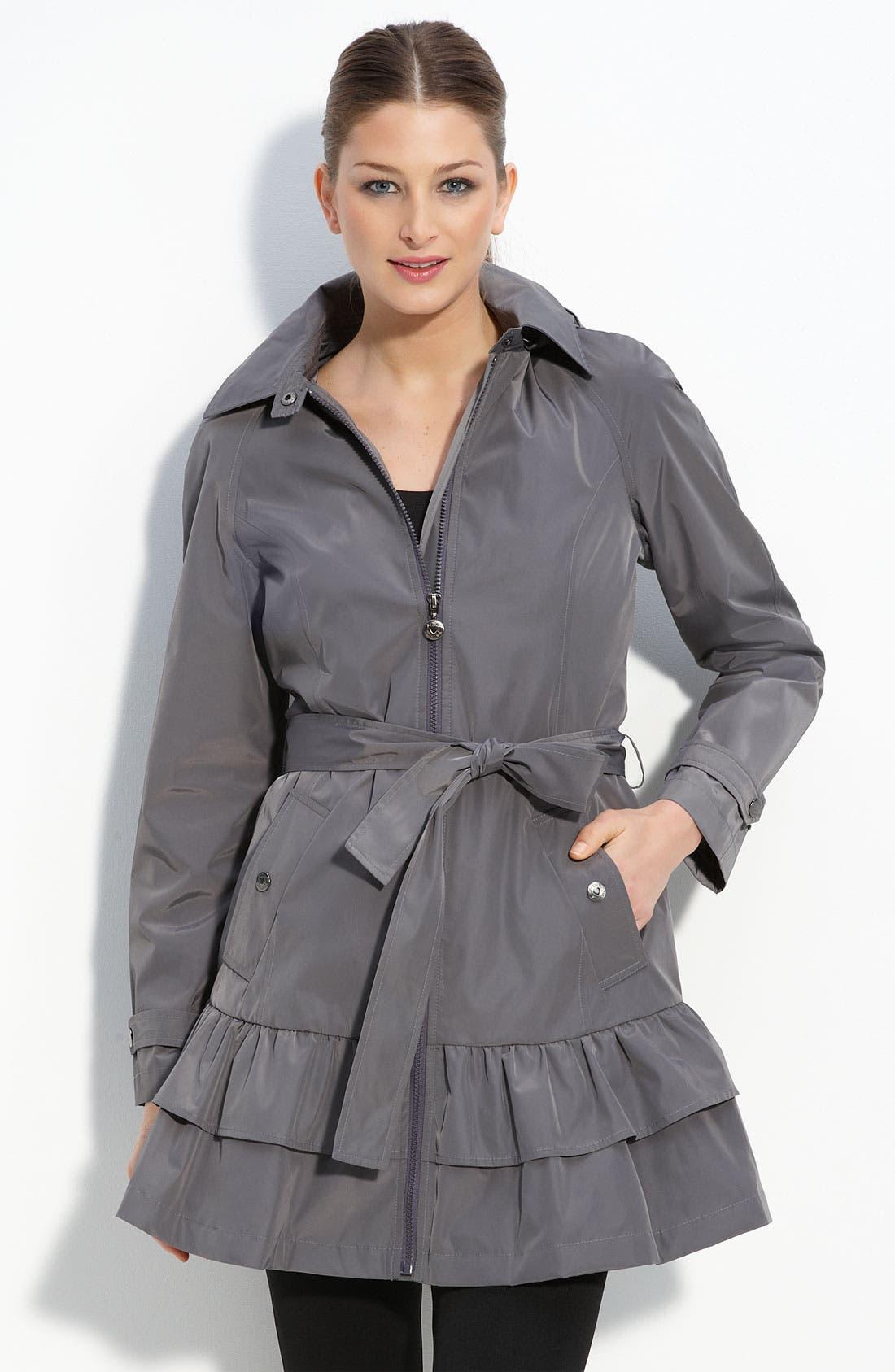 Ruffle Hem Jacket,                         Main,                         color, Steel