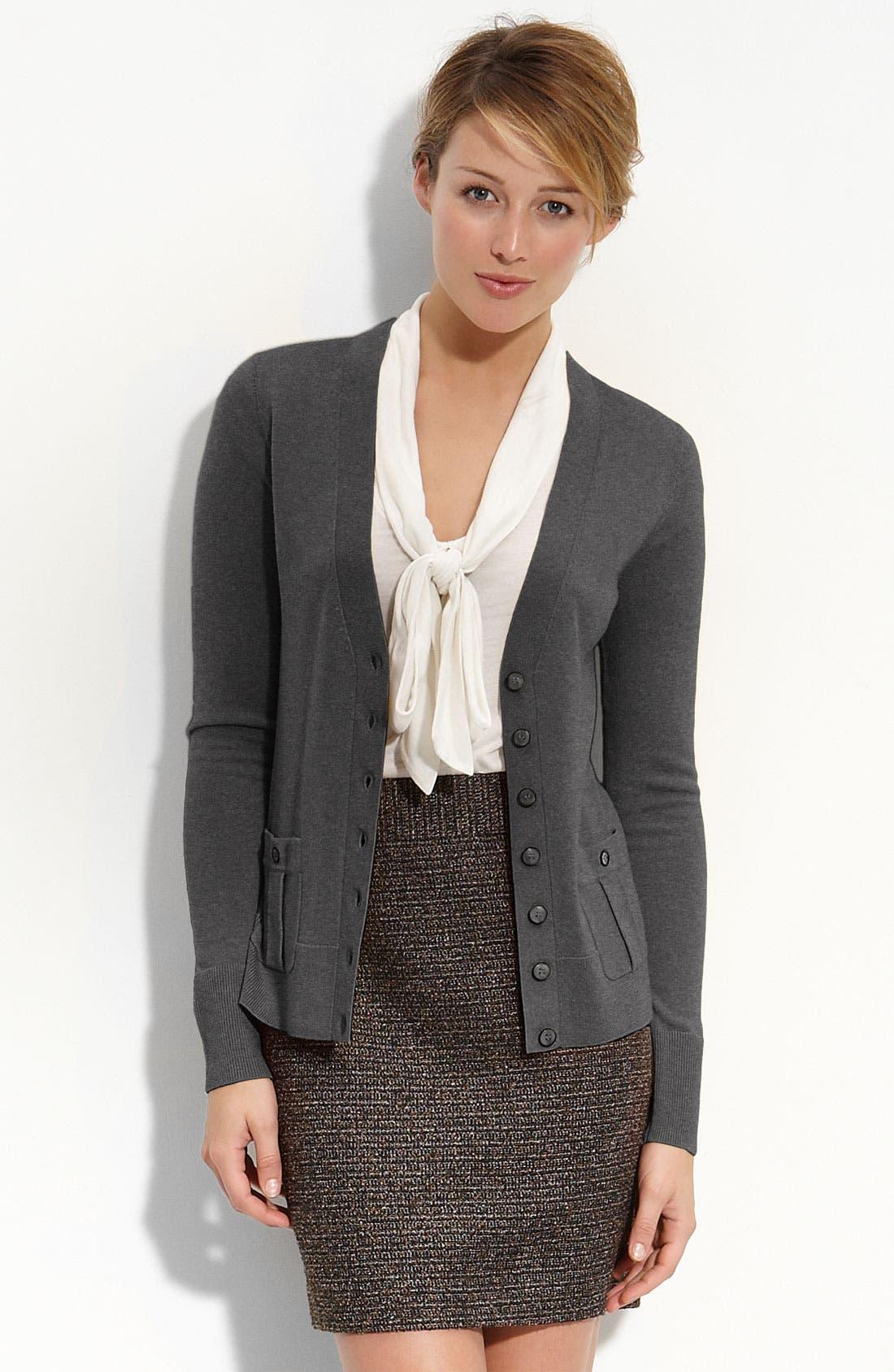 Alternate Image 1 Selected - Halogen® Merino Wool V-Neck Cardigan