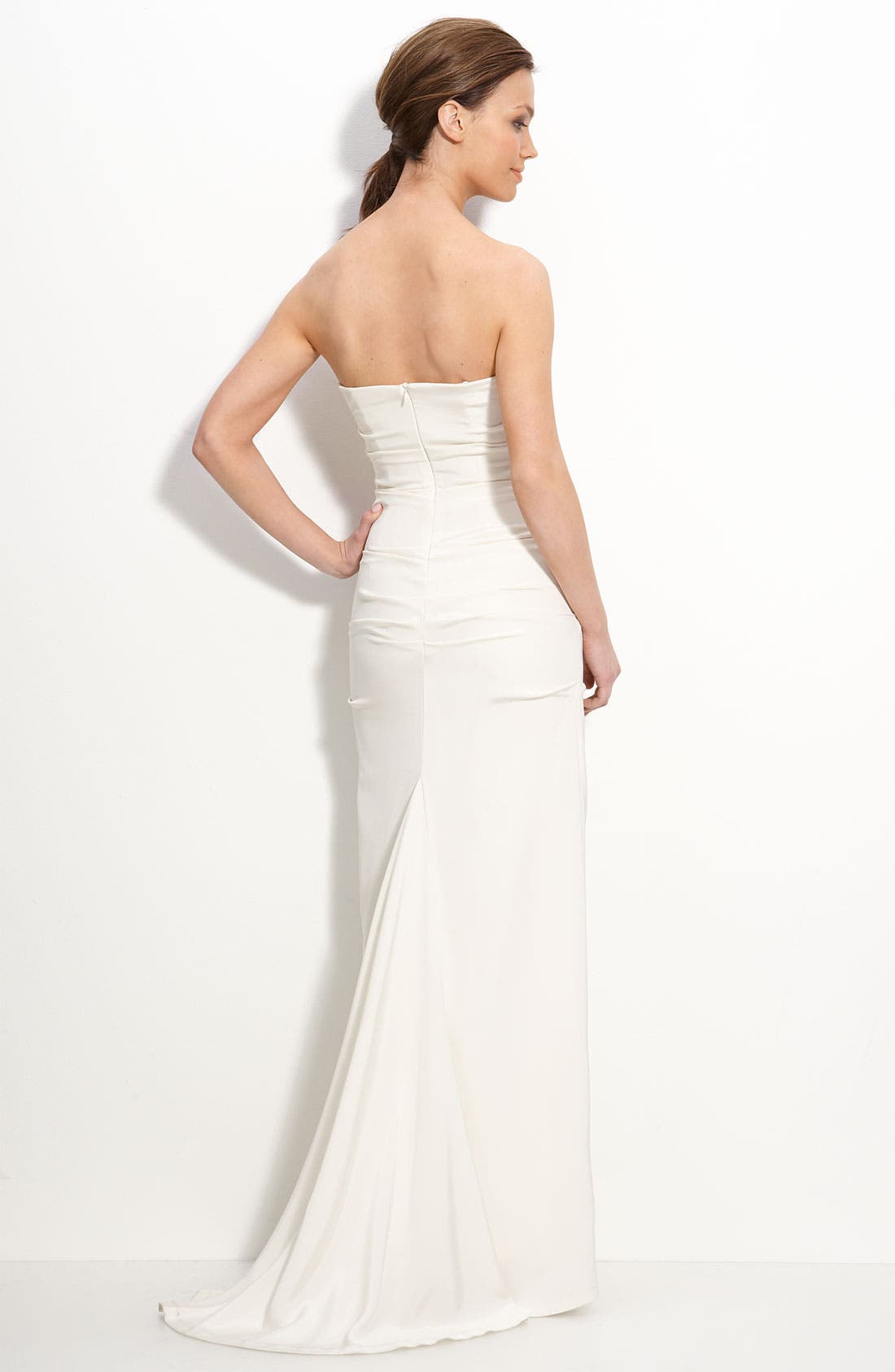 Alternate Image 2  - Nicole Miller Pintucked Crêpe de Chine Strapless Gown