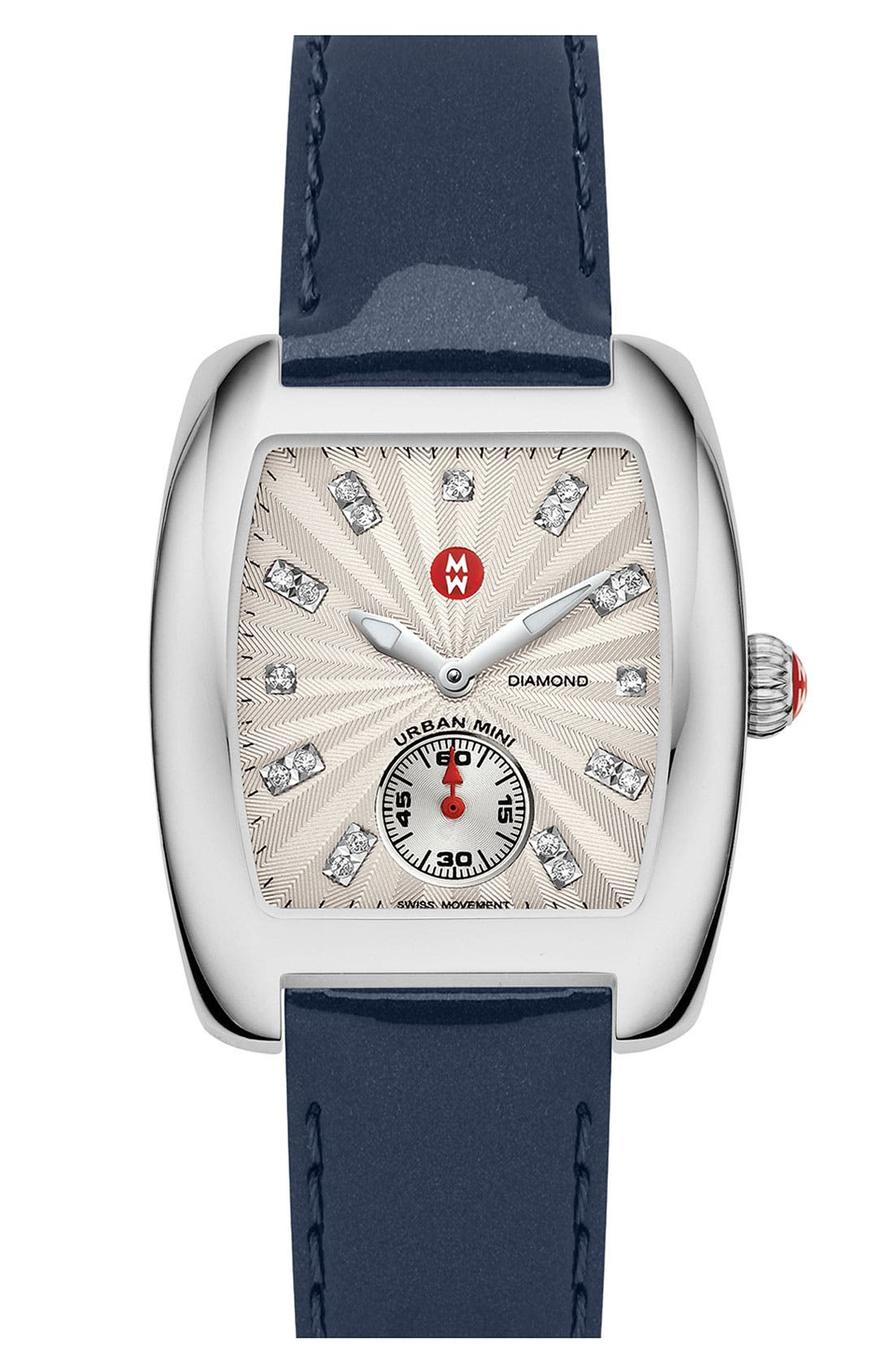 Alternate Image 1 Selected - MICHELE 'Urban Mini' Diamond Dial Watch Case & 16mm Navy Patent Leather Strap