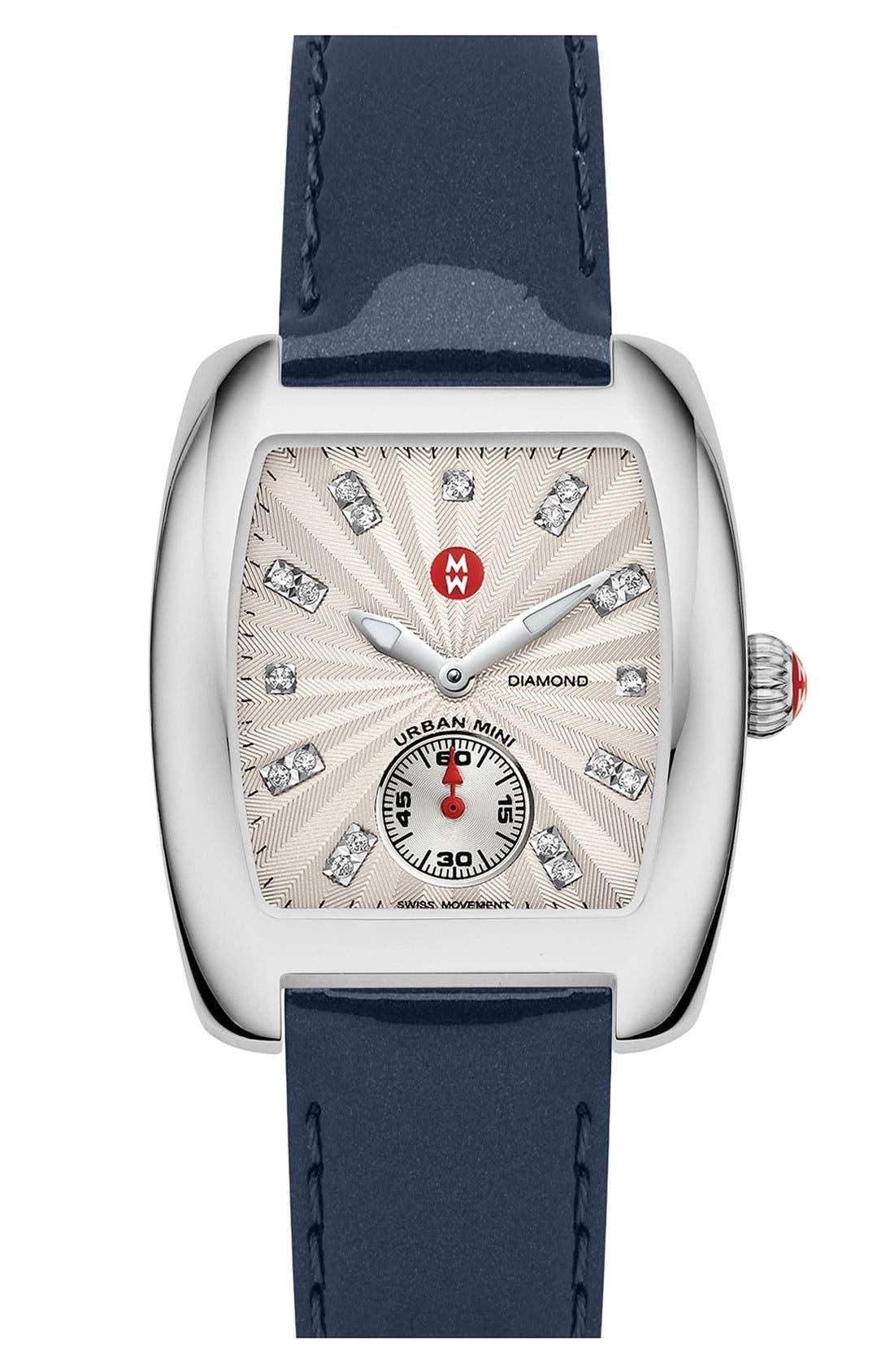 Main Image - MICHELE 'Urban Mini' Diamond Dial Watch Case & 16mm Navy Patent Leather Strap