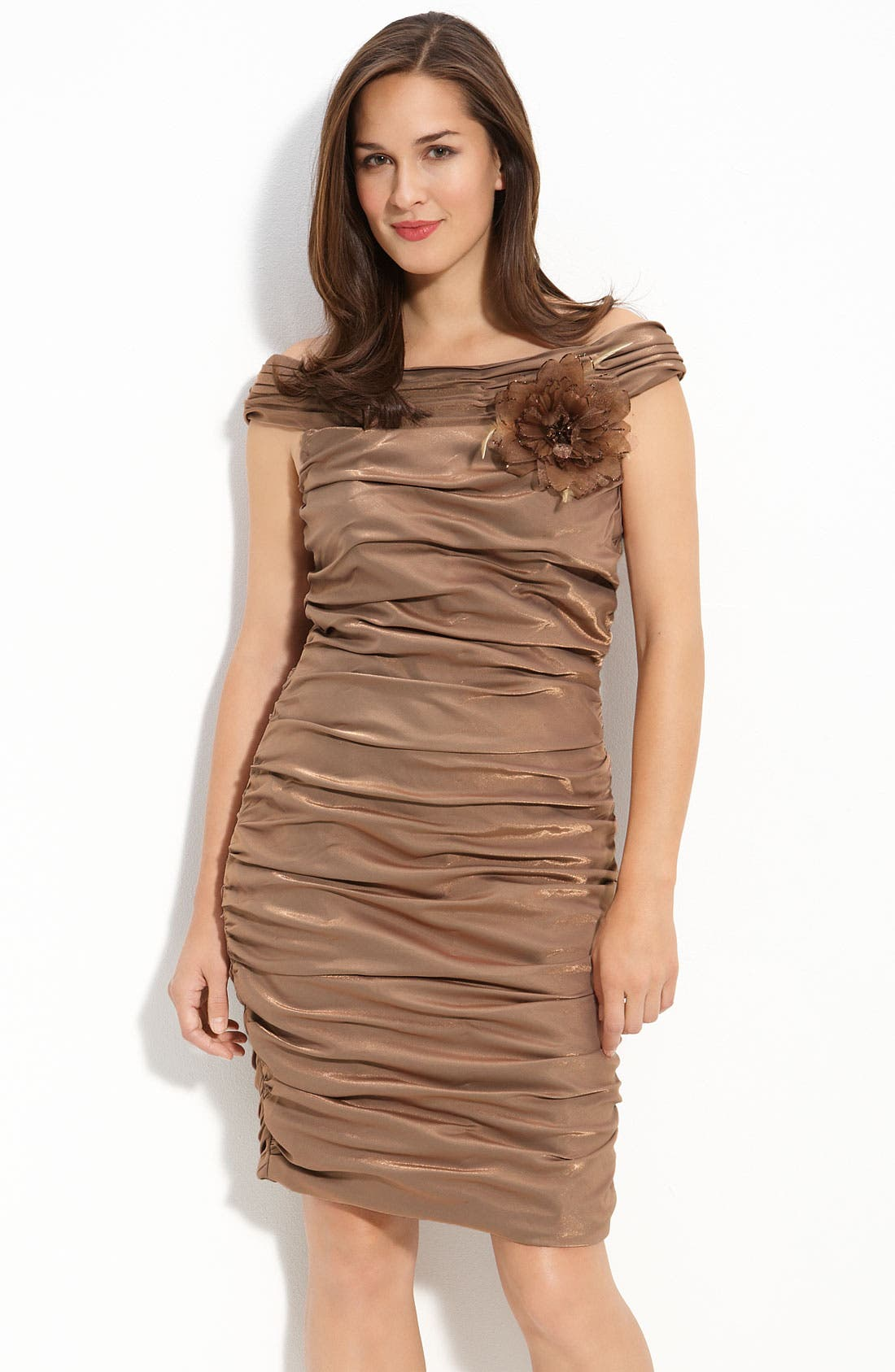 Main Image - Cachet Ruched Satin Off Shoulder Sheath Dress