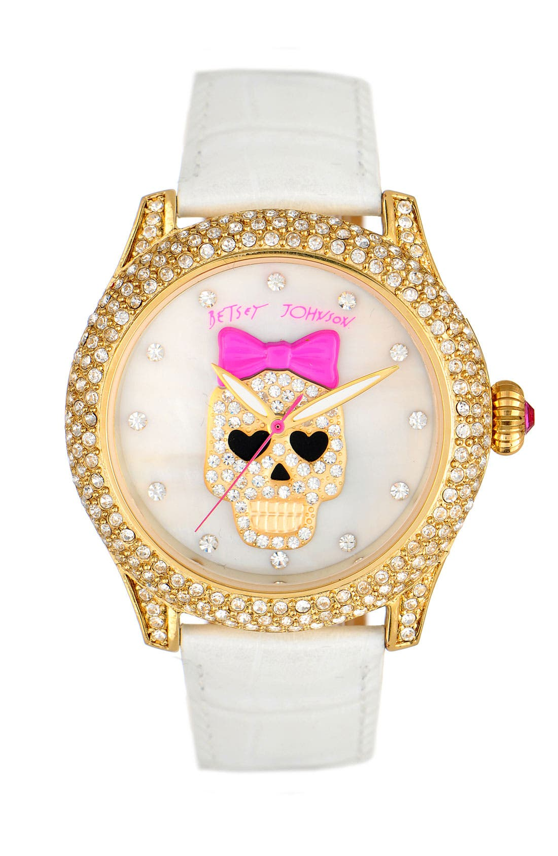 Alternate Image 1 Selected - Betsey Johnson 'Bling Bling Time' Skull Dial Leather Strap Watch