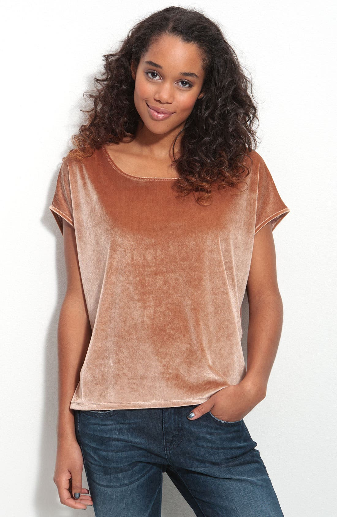 Alternate Image 1 Selected - Frenchi® Boxy Velvet Tee (Juniors)