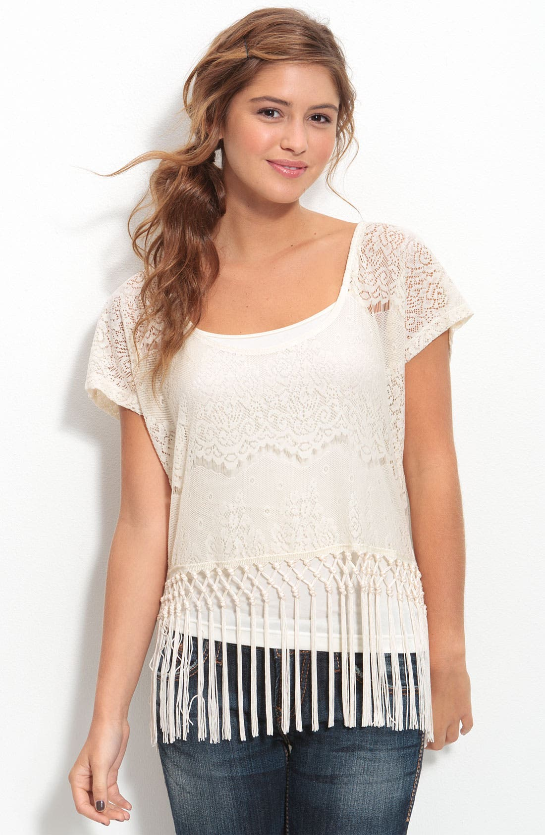 Main Image - Fire Scoop Back Lace Tee with Fringe Trim (Juniors)