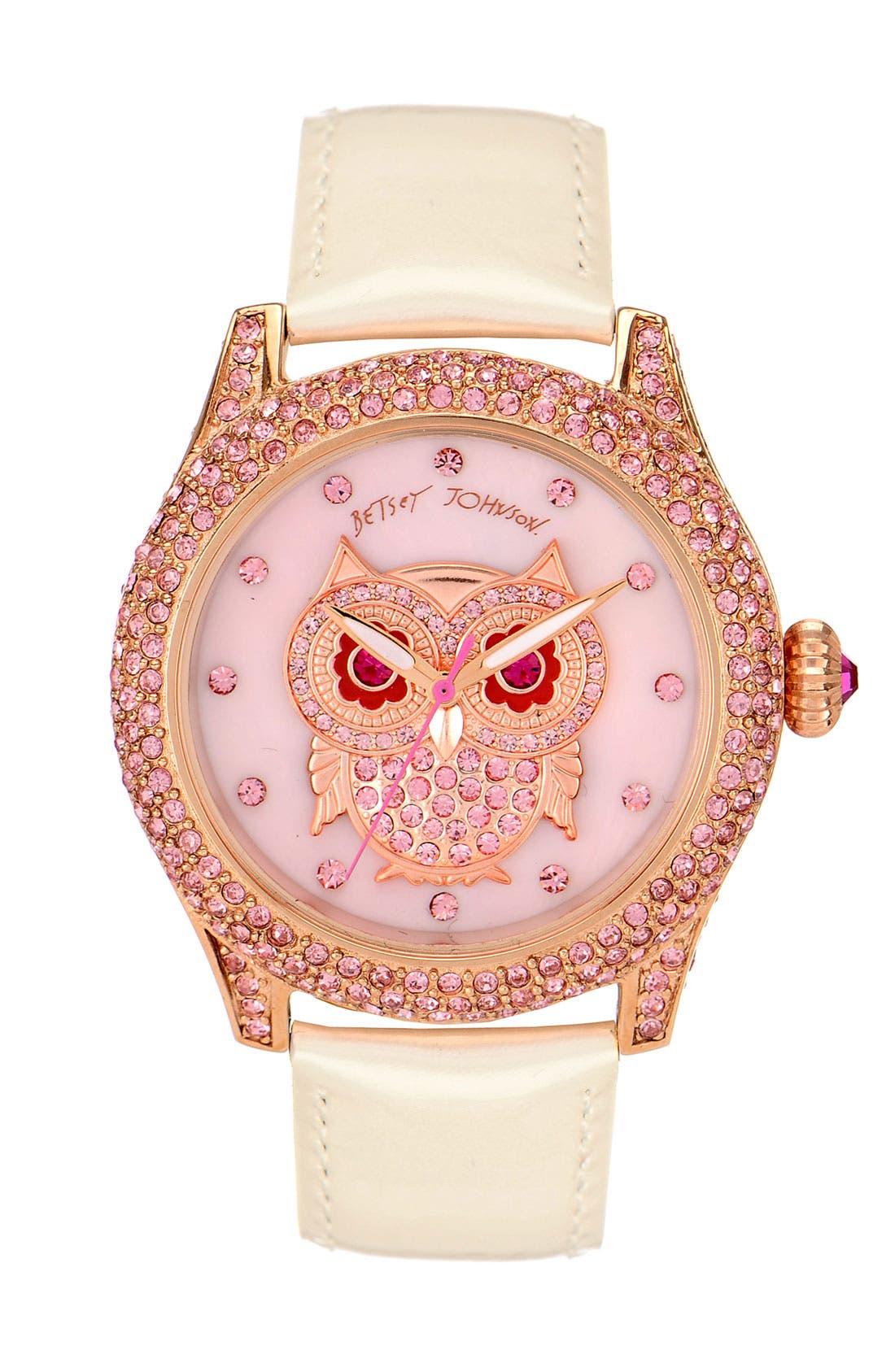 Alternate Image 1 Selected - Betsey Johnson 'Bling Bling Time' Owl Dial Watch, 40mm