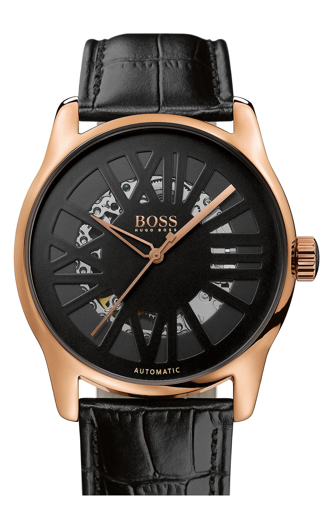Main Image - BOSS HUGO BOSS Round Automatic Leather Strap Watch, 44mm
