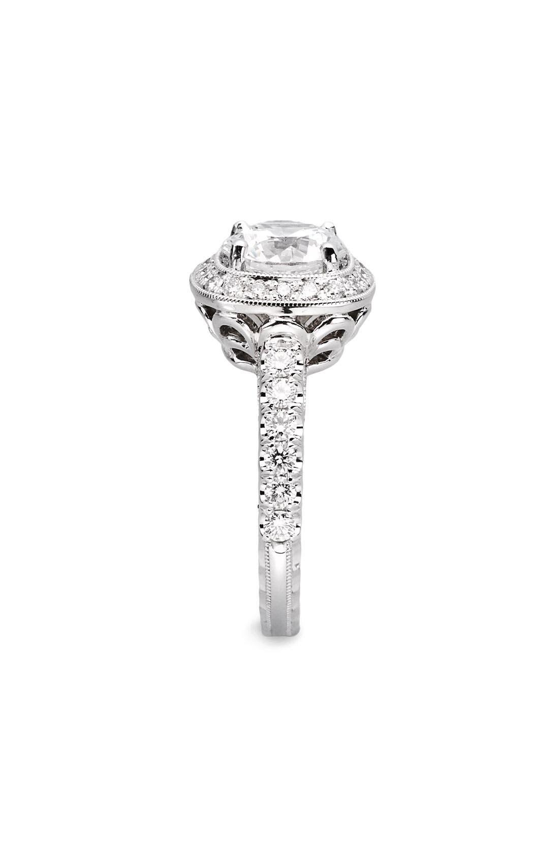 Alternate Image 2  - Jack Kelége 'Romance' Cushion Set Diamond Engagement Ring Setting