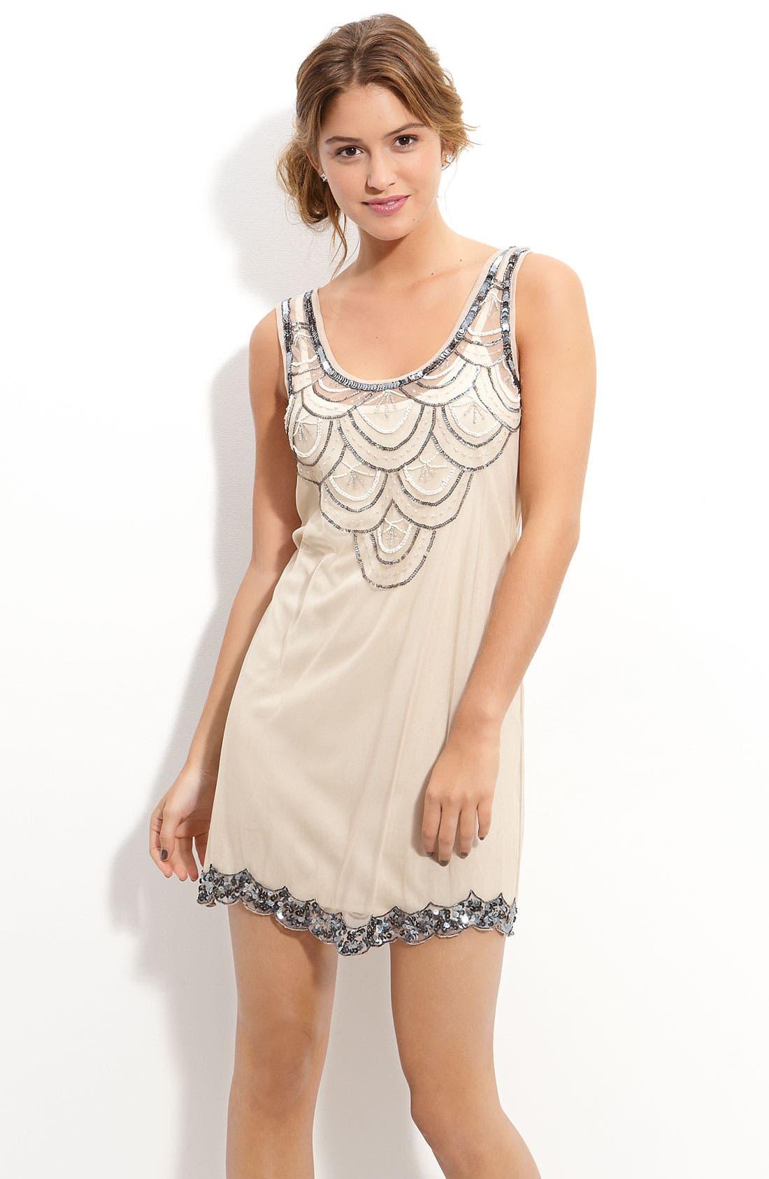 Main Image - Angie Bead & Sequin Embellished Sleeveless Dress (Juniors)