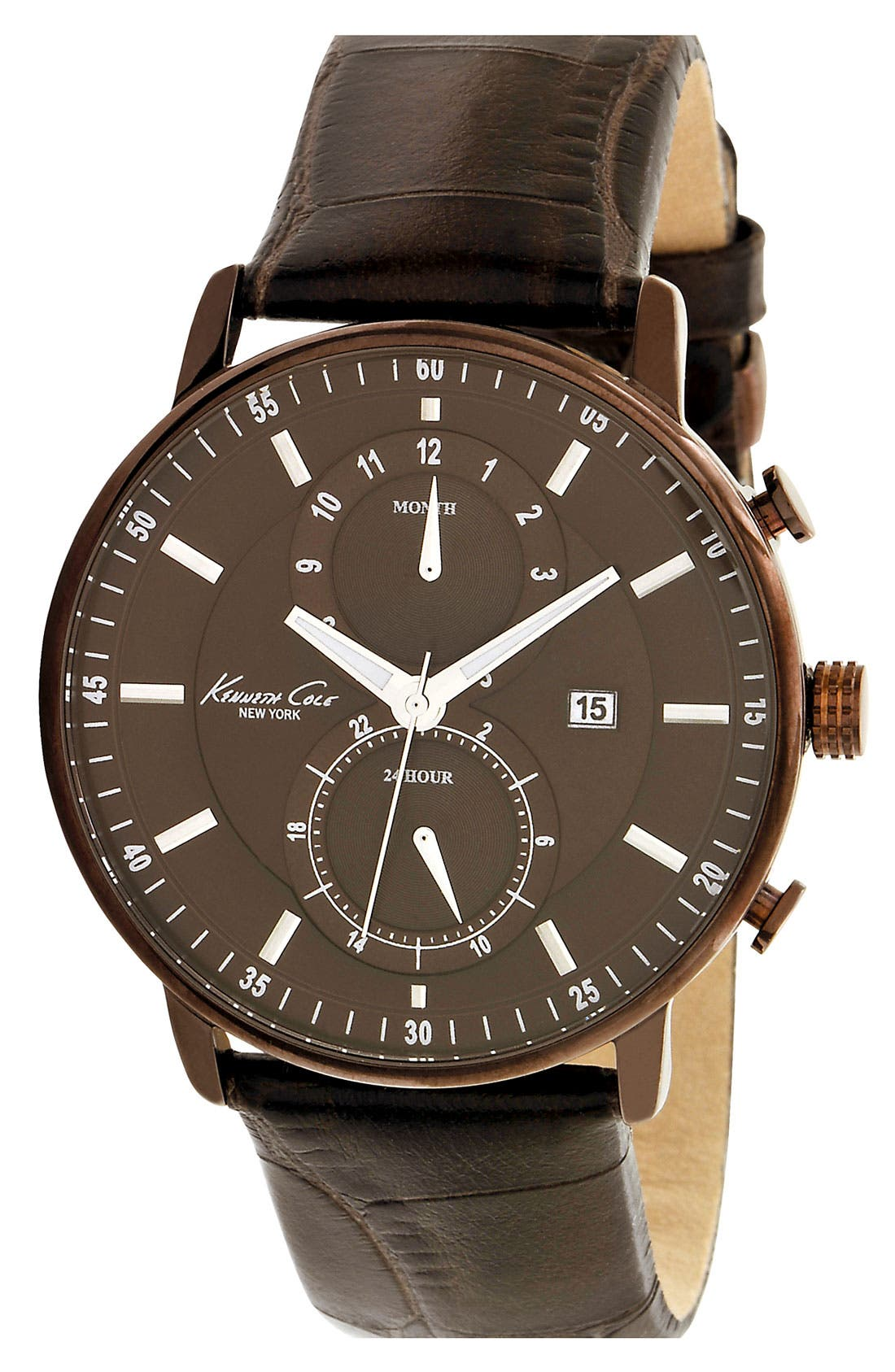 Alternate Image 1 Selected - Kenneth Cole New York Round Leather Strap Watch