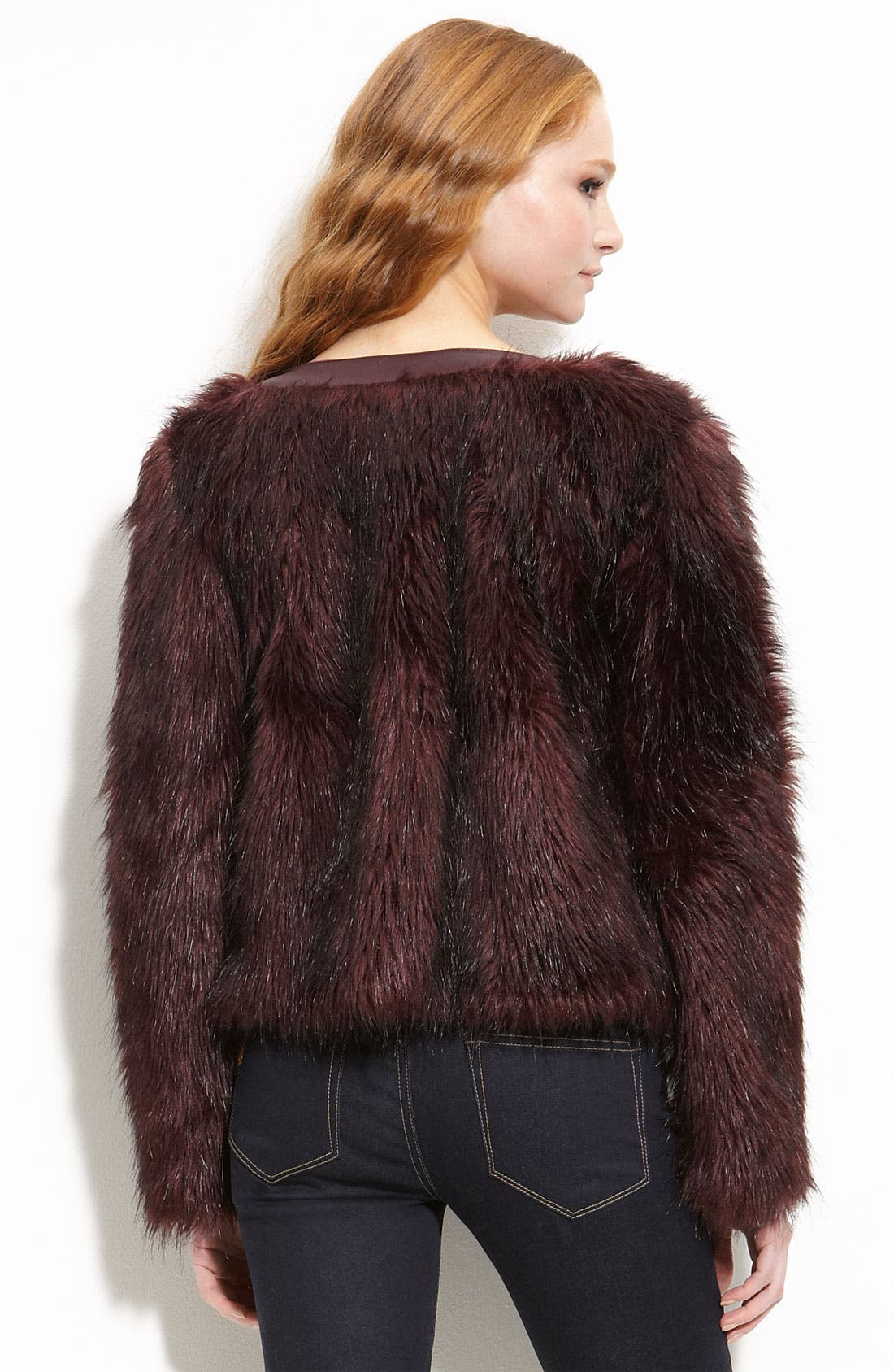 Alternate Image 2  - Willow & Clay Faux Fur Jacket with Faux Leather Trim