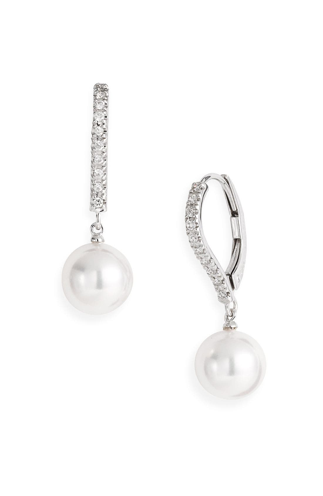 Main Image - Mikimoto Diamond & Akoya Cultured Pearl Earrings