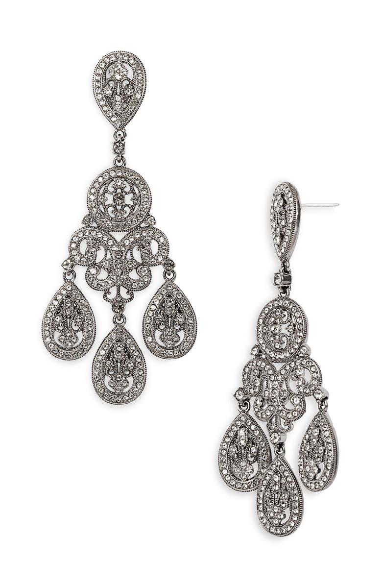 Large Pavé Teardrop Chandelier Earrings