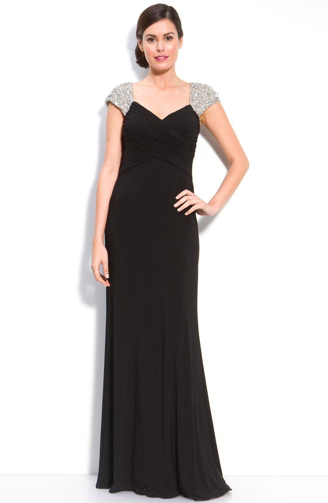 Alternate Image 1 Selected - JS Boutique Beaded Sleeve Jersey Gown