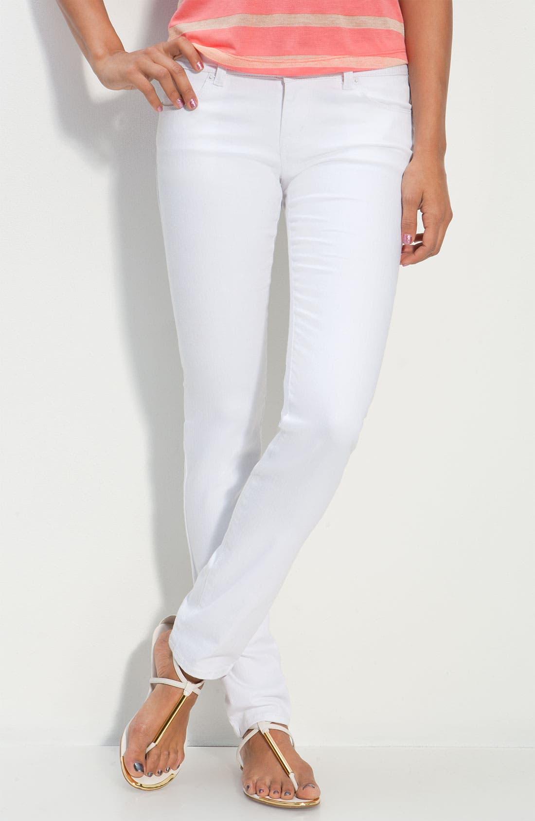 Alternate Image 2  - S.O.N.G. Skinny Leg Jeans (Crystal White Wash) (Juniors)