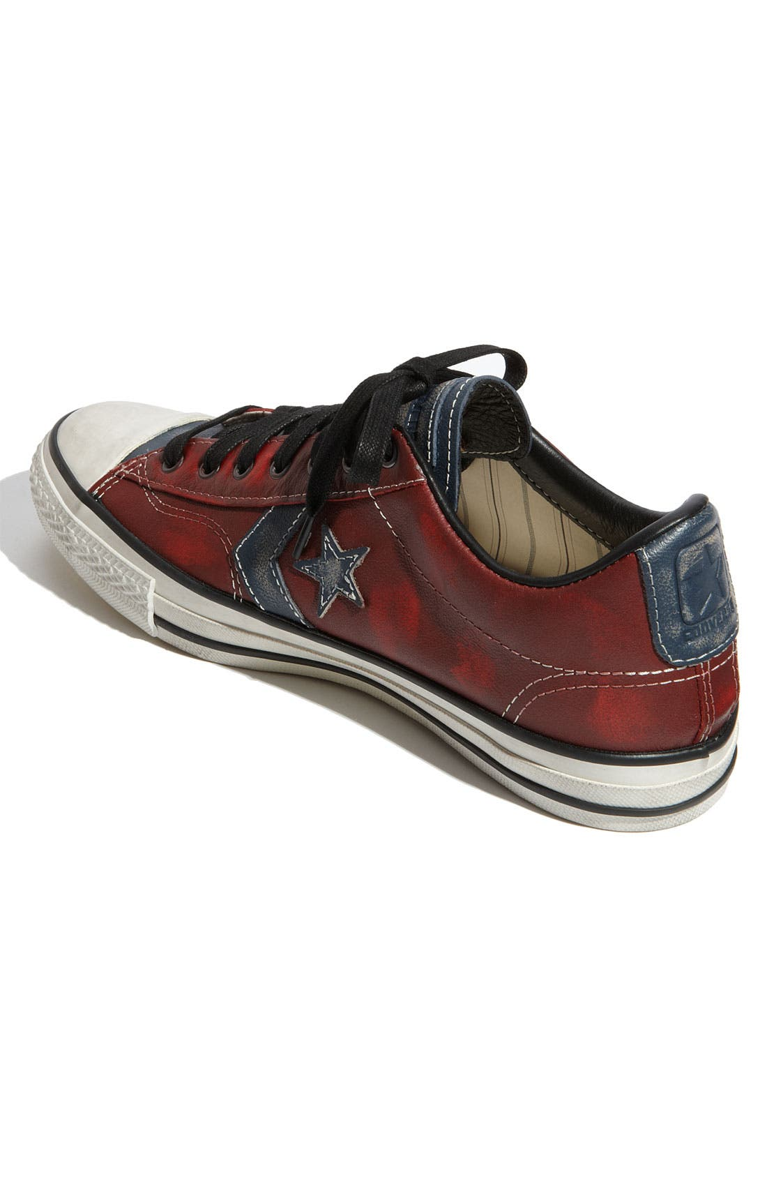 'Star Player' Leather Sneaker,                             Alternate thumbnail 4, color,                             Red / Blue