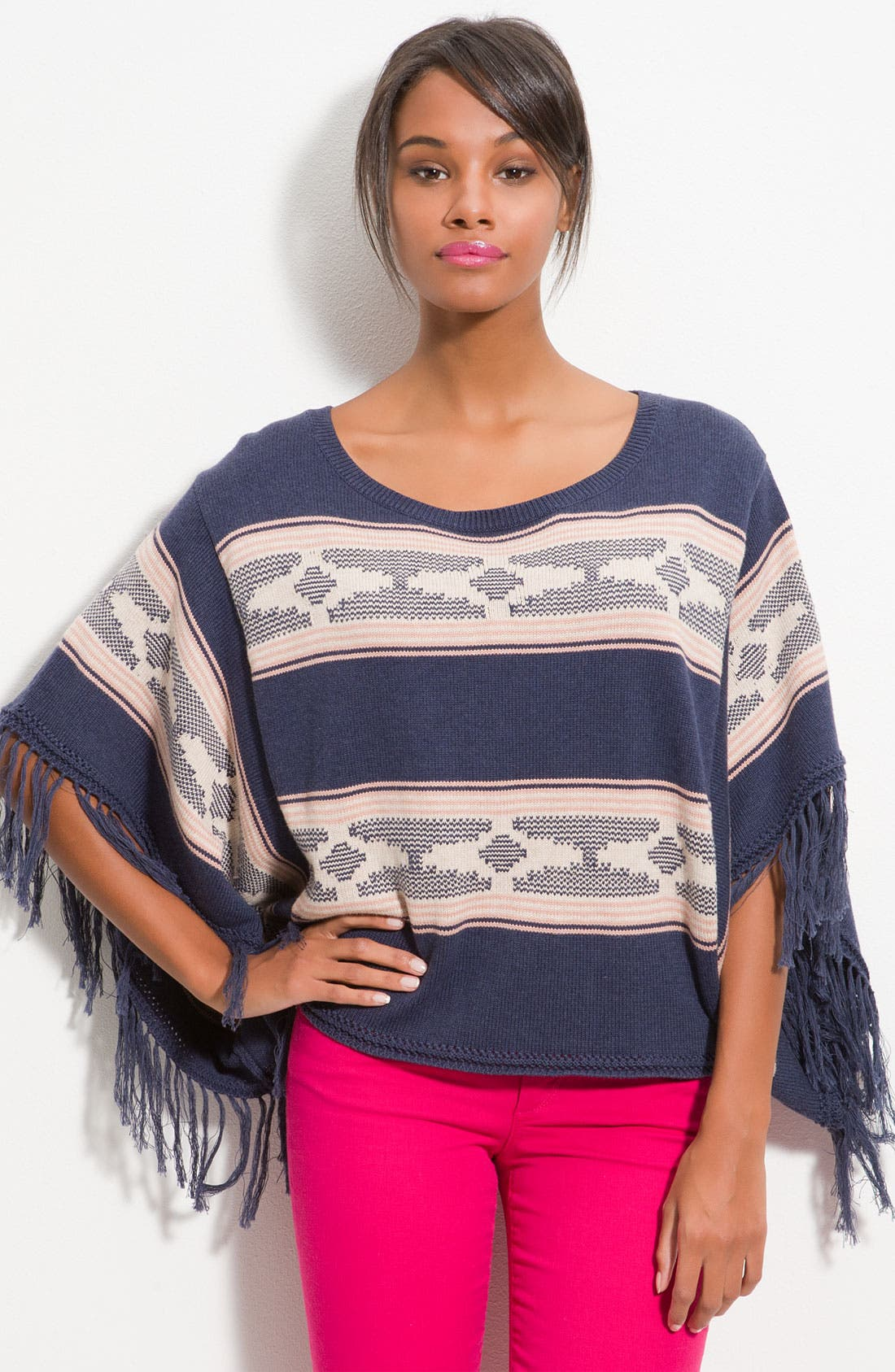 Alternate Image 1 Selected - Ella Moss Fringe Poncho Top