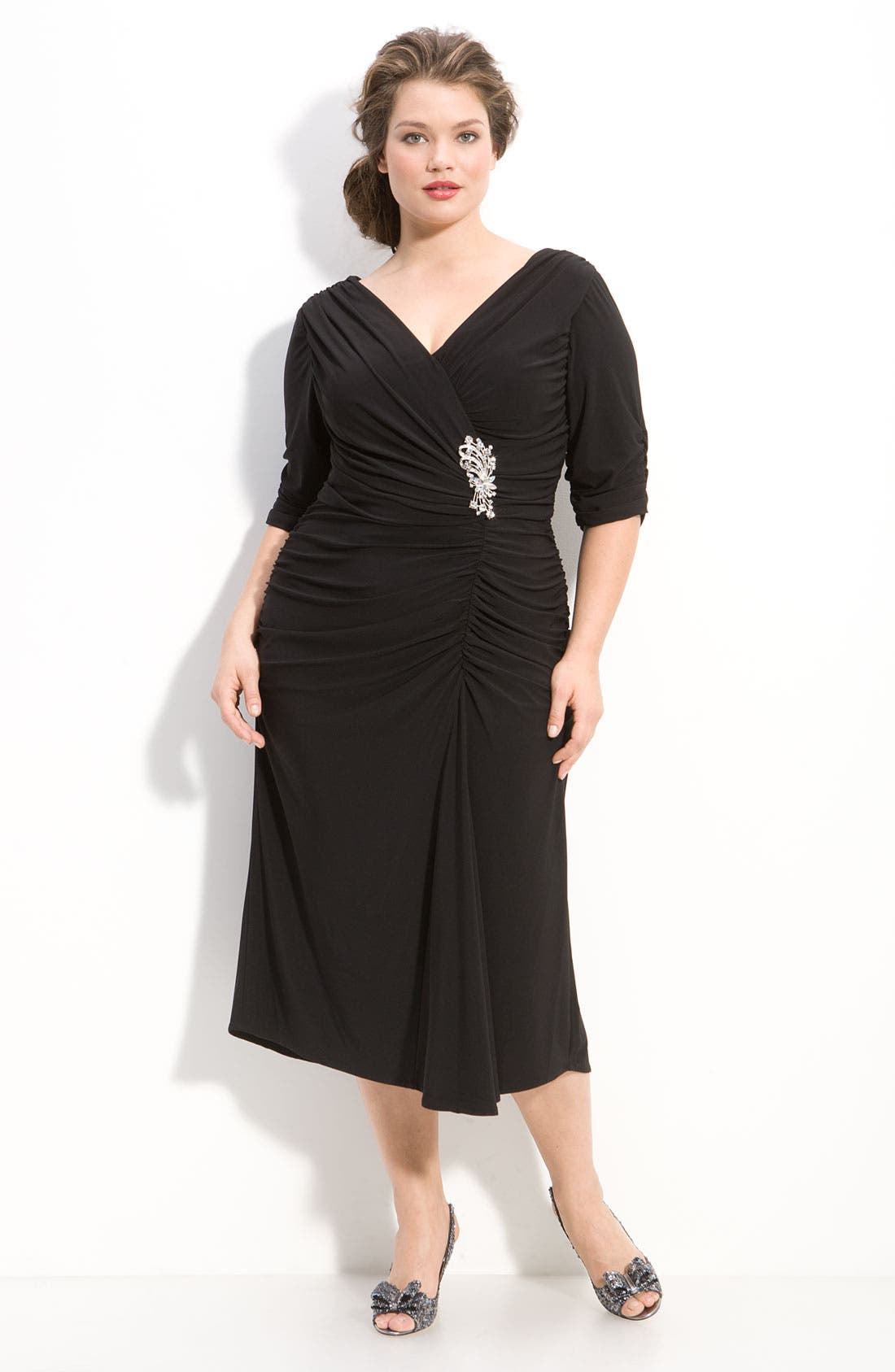 Alternate Image 1 Selected - Alex Evenings Jeweled Ruched Jersey Dress (Plus)