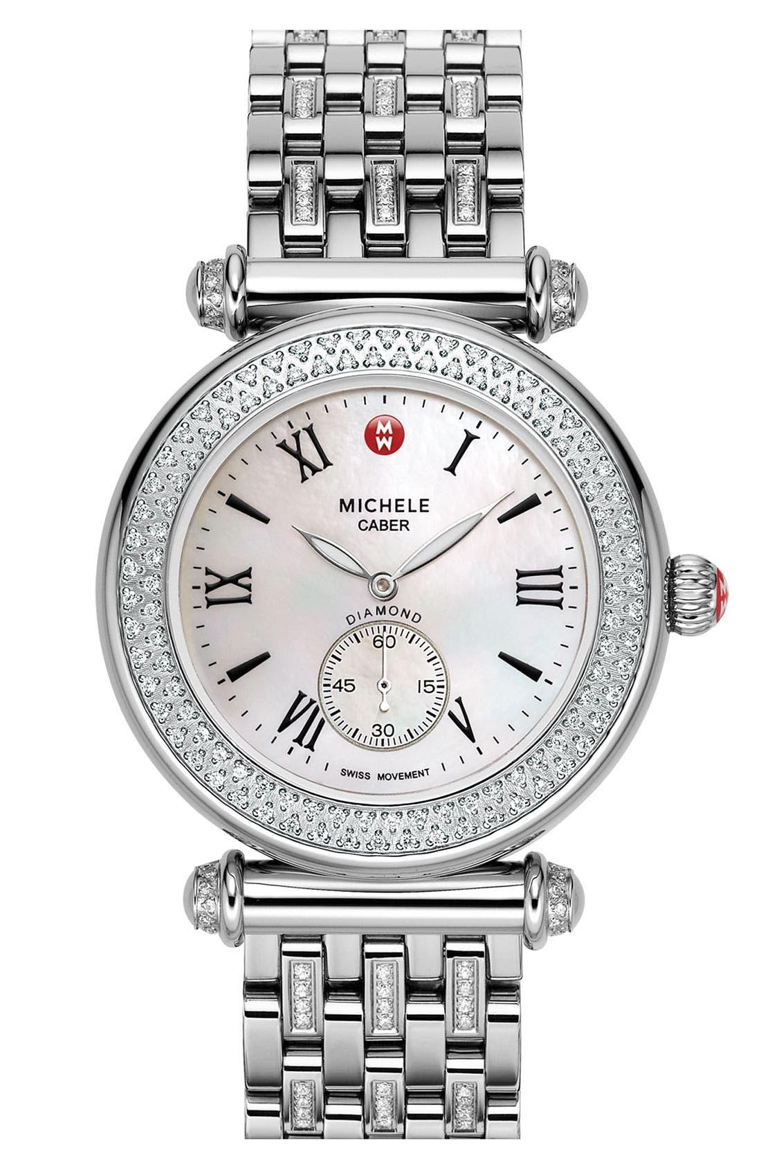 Alternate Image 2  - MICHELE 'Caber' Diamond Gold Watch Case, 38mm