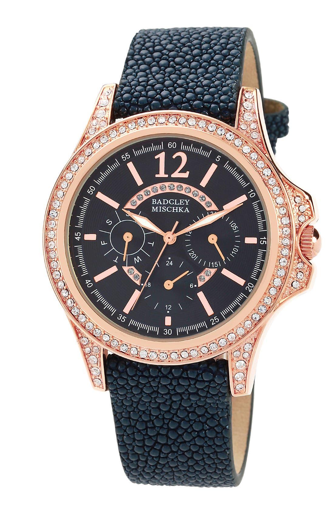 Alternate Image 1 Selected - Badgley Mischka Stingray Leather Strap Watch