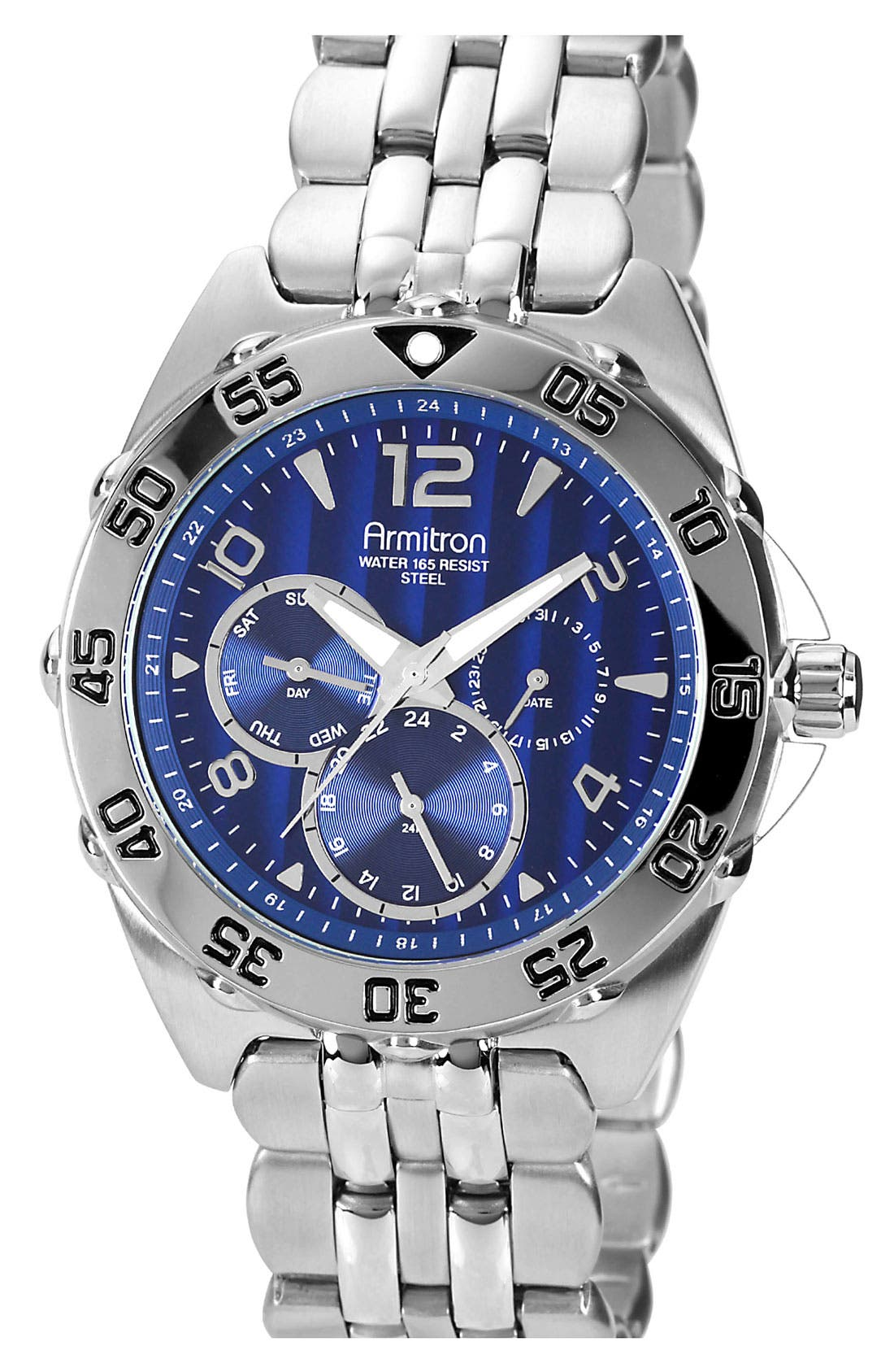 Engraved Bezel Multifunction Watch, 42mm,                         Main,                         color, Blue/ Silver
