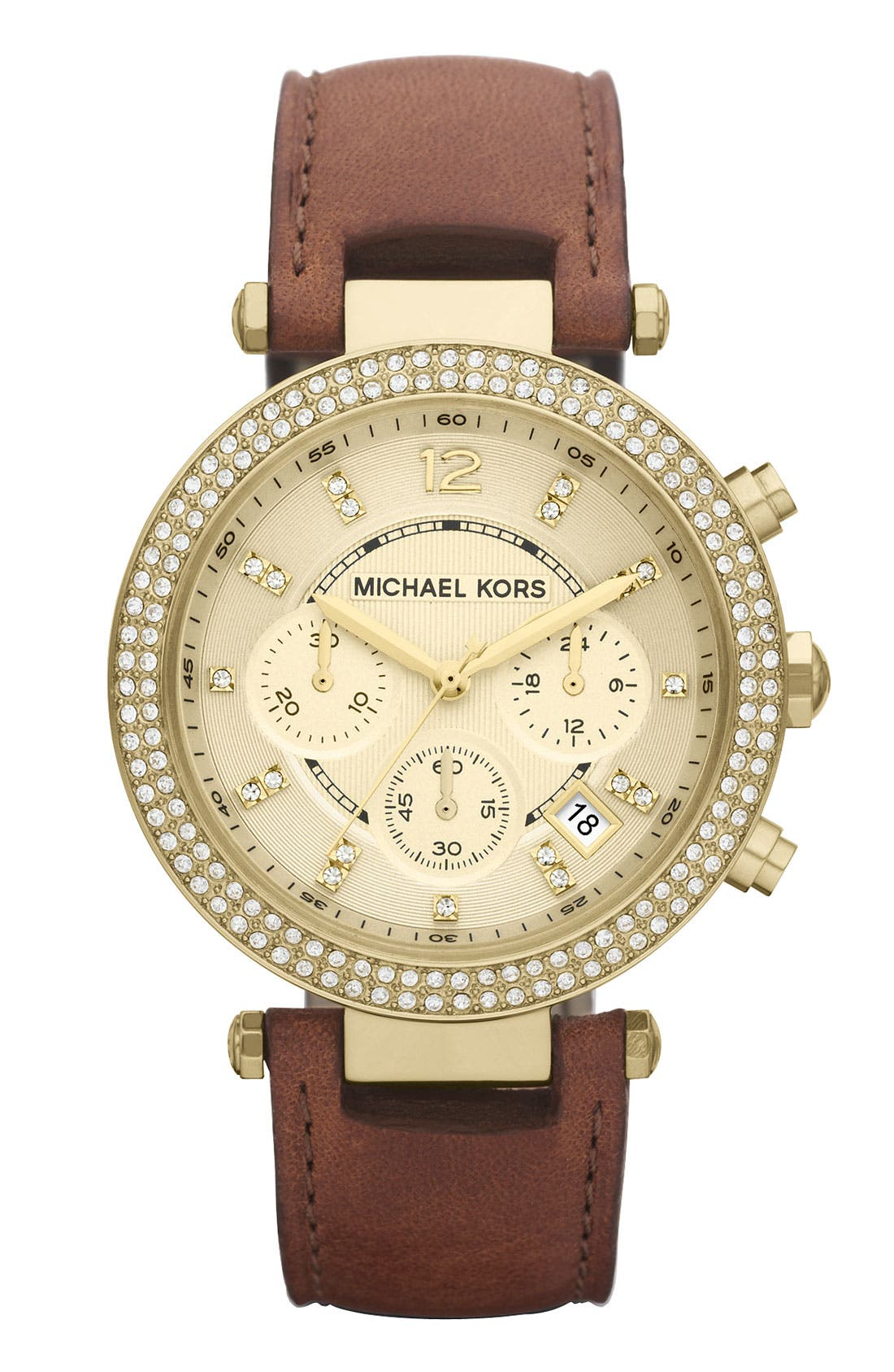 Michael Kors 'Parker' Chronograph Leather Watch, 39mm,                         Main,                         color, Brown