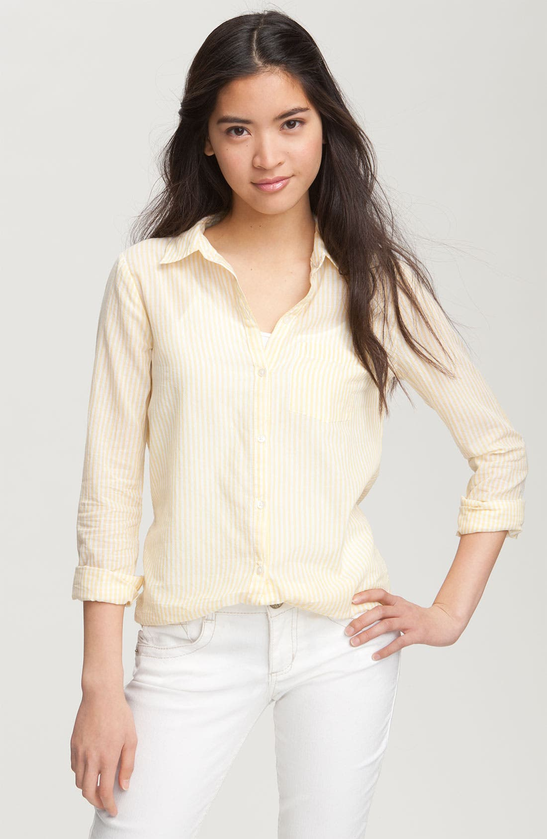Main Image - BP. 'Preppy' Cotton Shirt (Juniors)