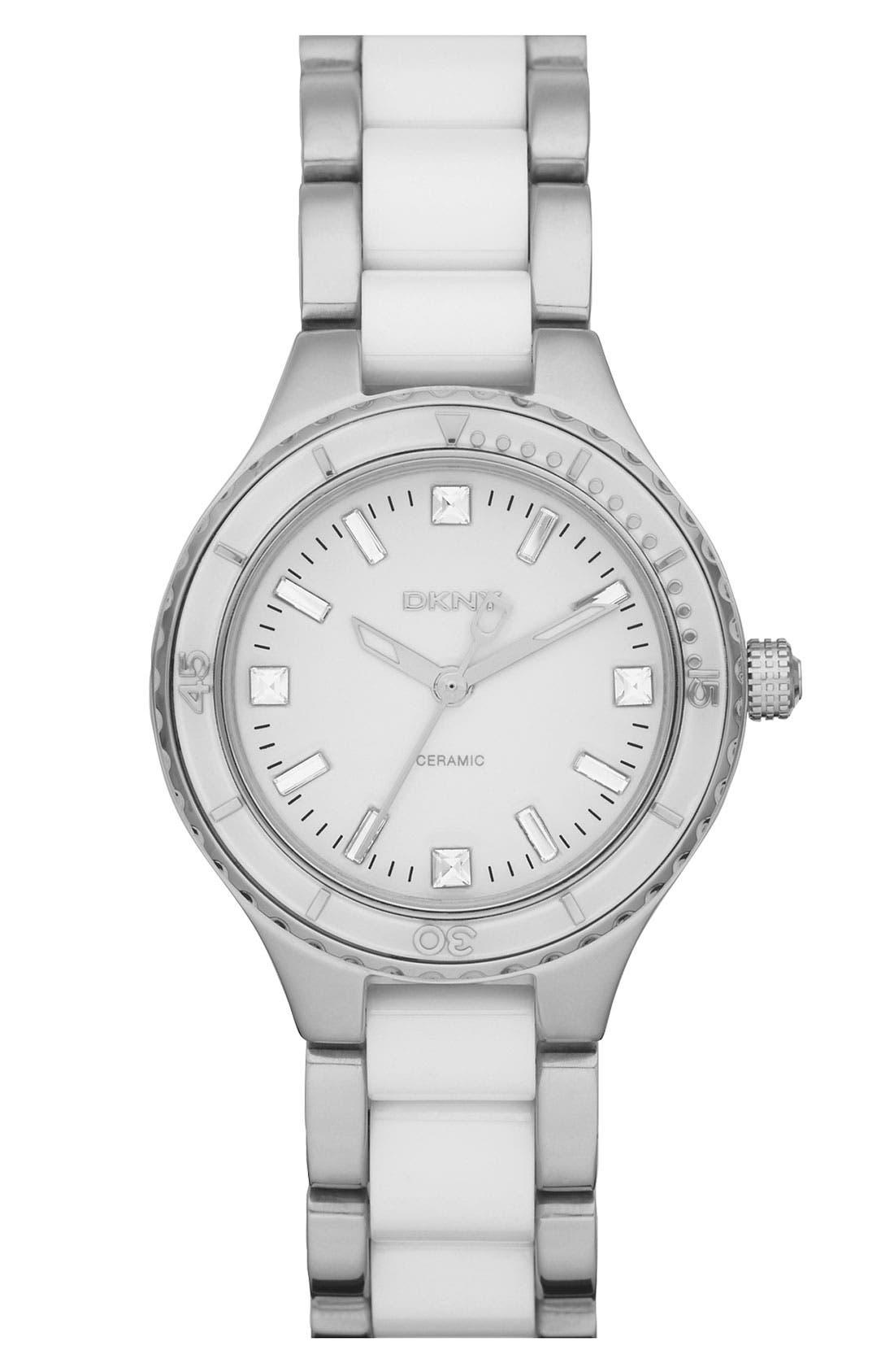 Alternate Image 1 Selected - DKNY 'Essentials' Ceramic Link Bracelet Watch, 32mm