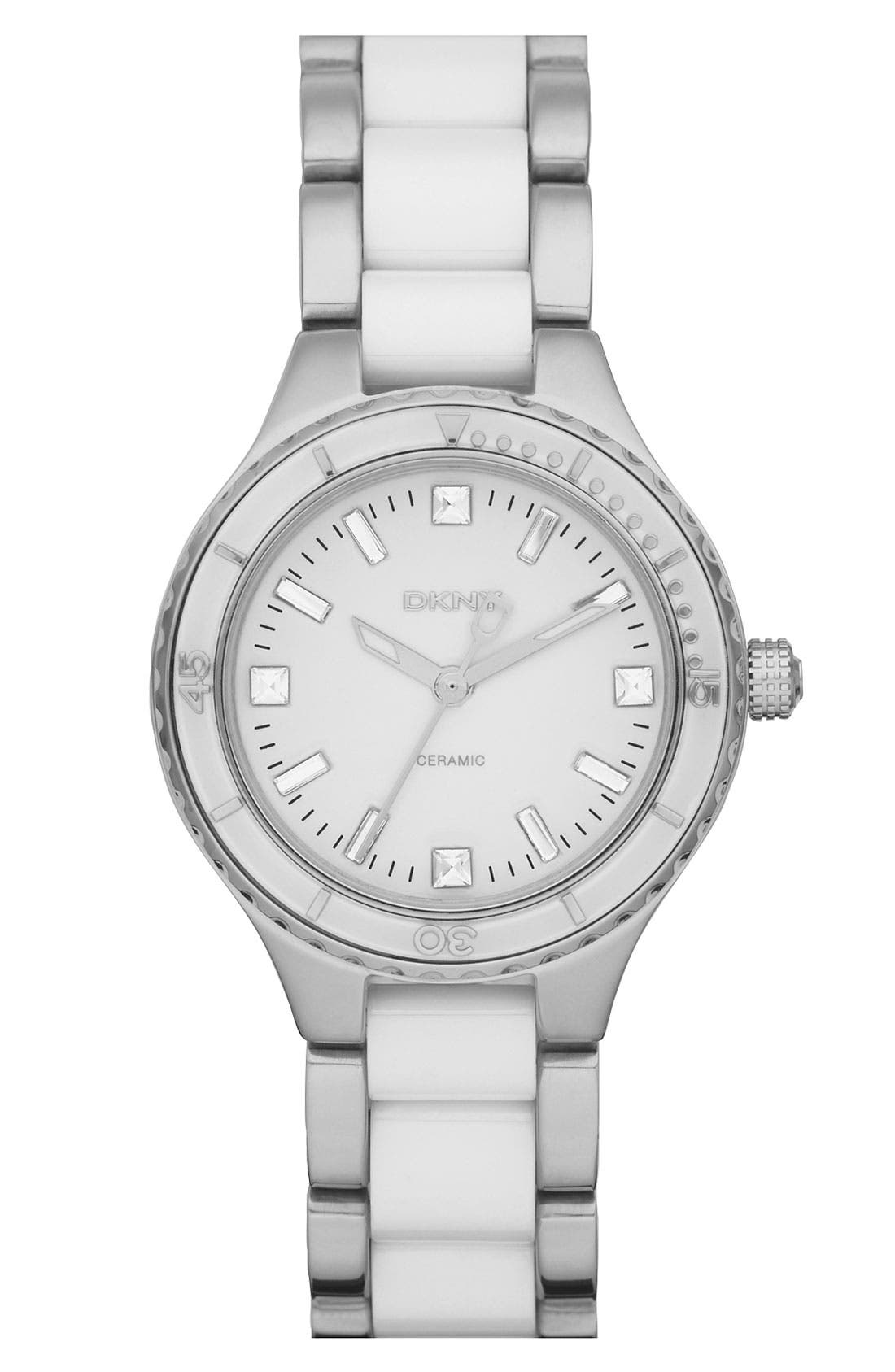 Main Image - DKNY 'Essentials' Ceramic Link Bracelet Watch, 32mm
