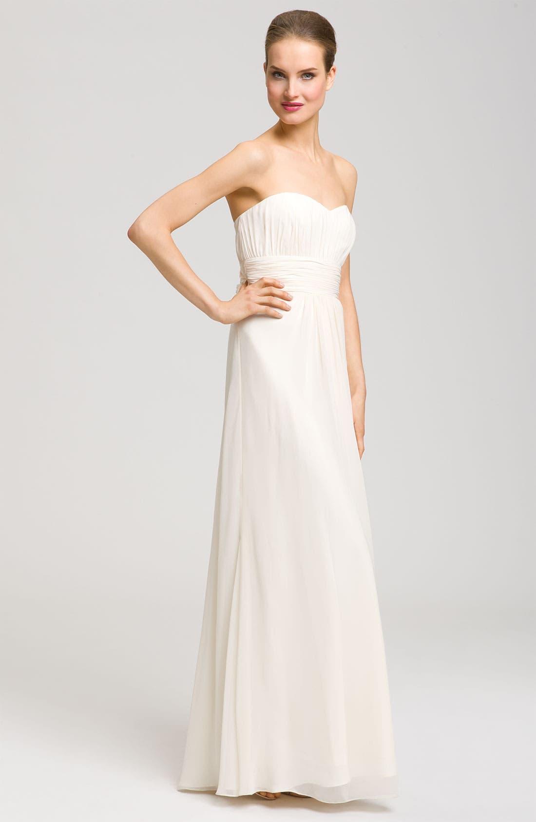 Alternate Image 2  - Aidan Mattox Sweetheart Gown & Beaded Cape