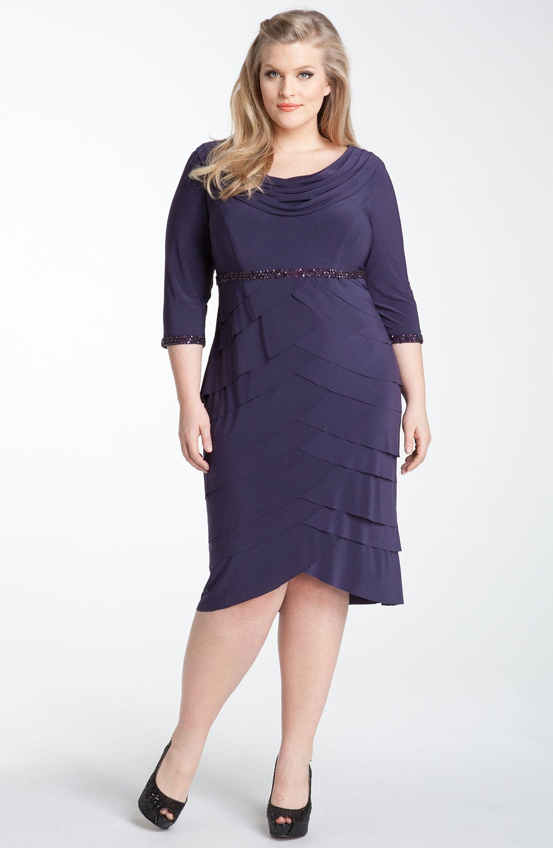 Main Image - Alex Evenings Beaded Tiered Matte Jersey Sheath Dress (Plus)