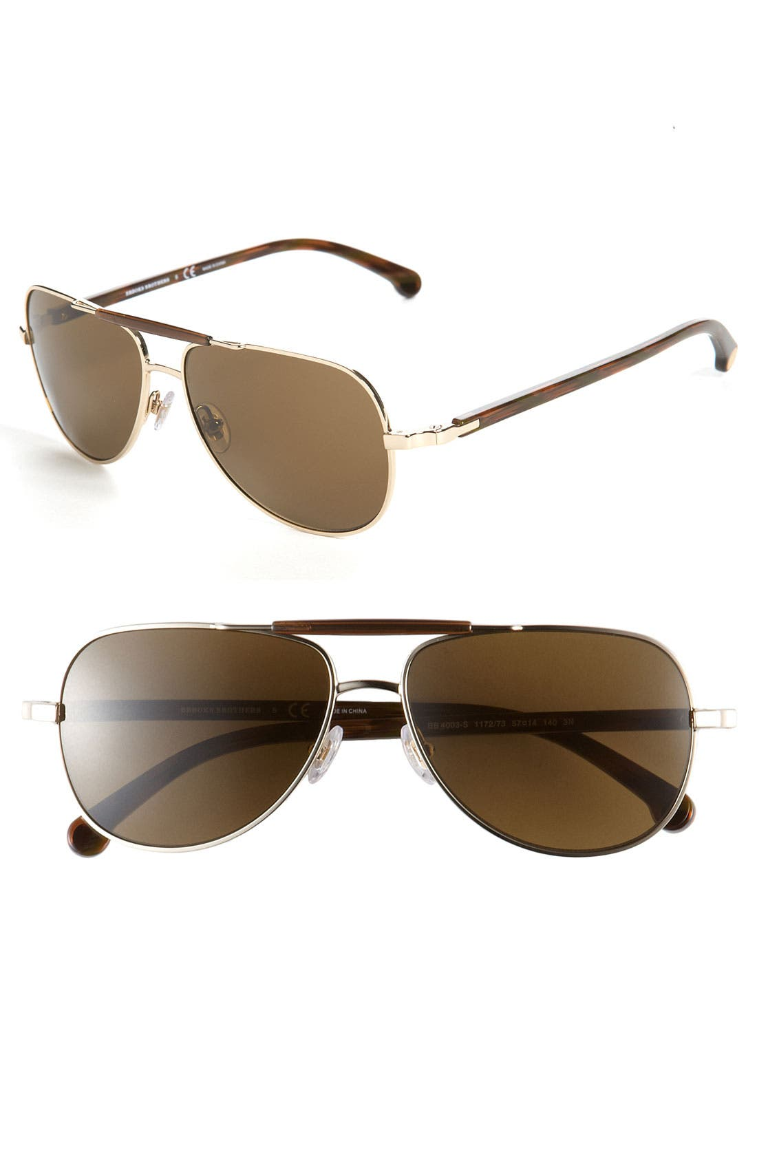 Main Image - Brooks Brothers 57mm Metal Aviator Sunglasses