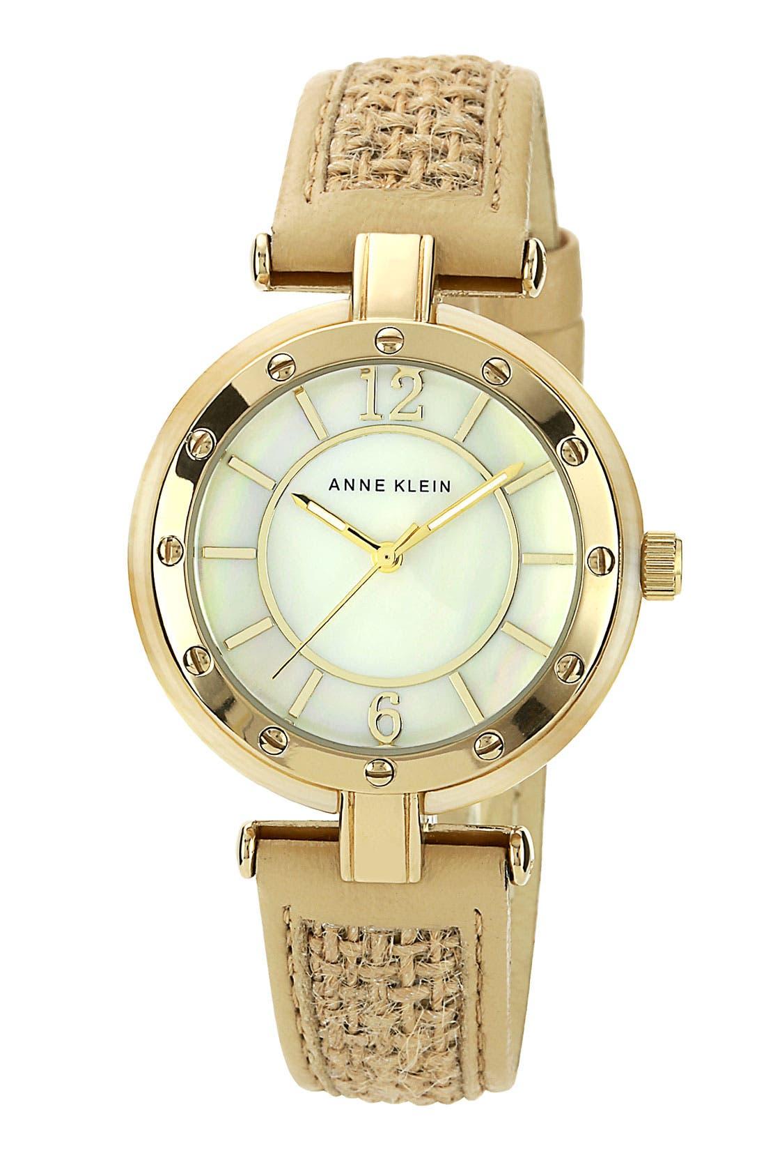 Alternate Image 1 Selected - Anne Klein Burlap Strap Watch