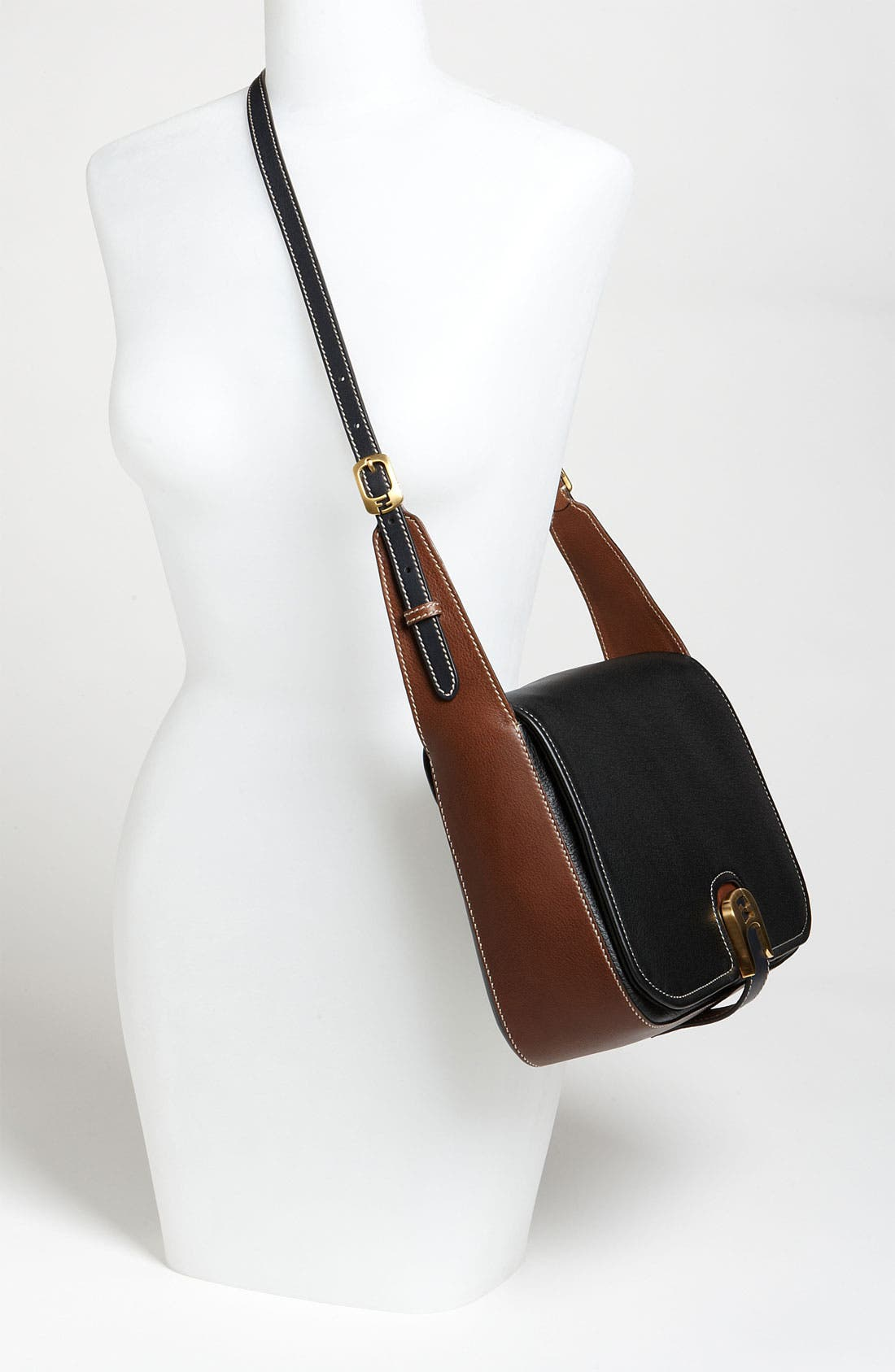 'Chameleon' Leather Shoulder Bag,                             Alternate thumbnail 2, color,                             Black/ Brown