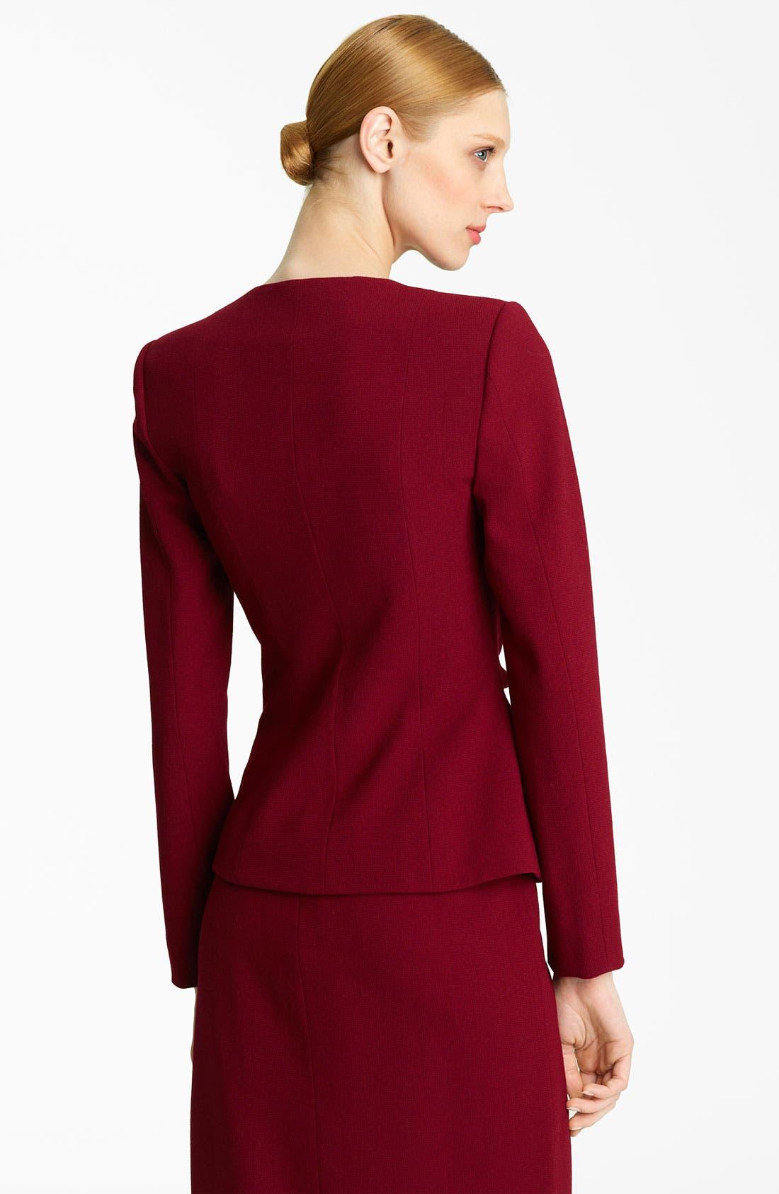 Alternate Image 2  - Oscar de la Renta Tie Waist Wool Crepe Jacket