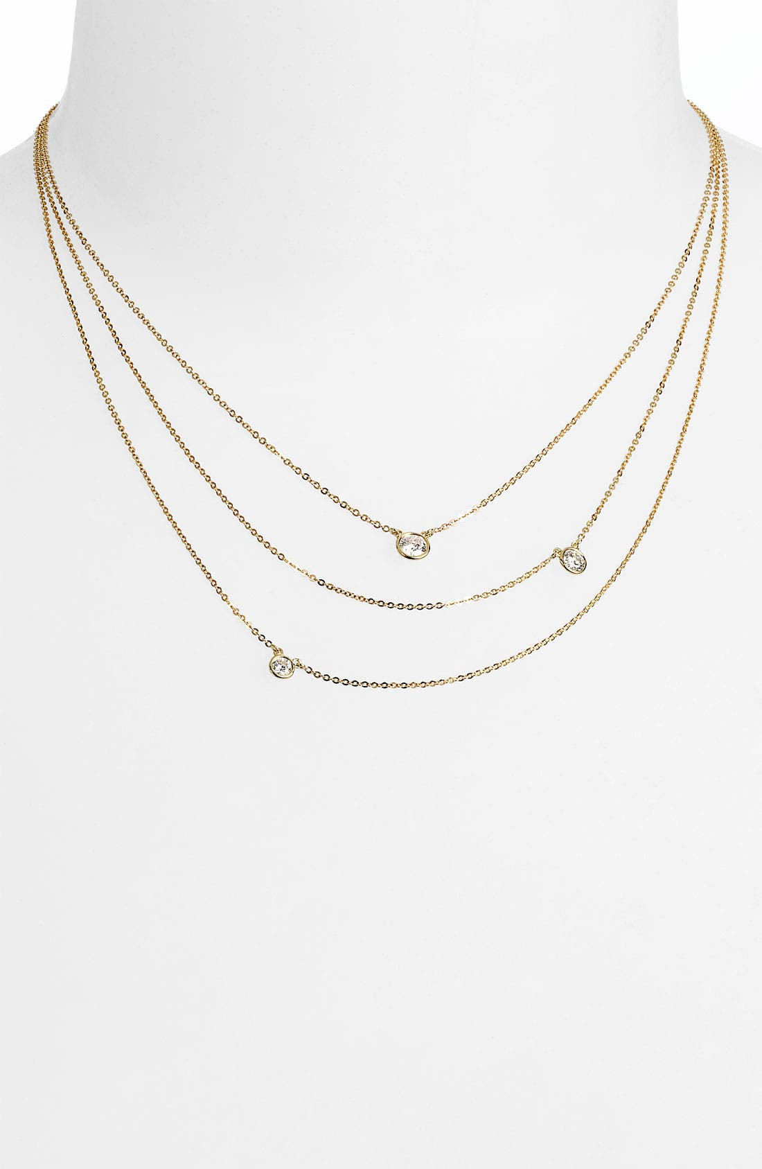 3-Row Diamond Necklace,                         Main,                         color, Yellow Gold