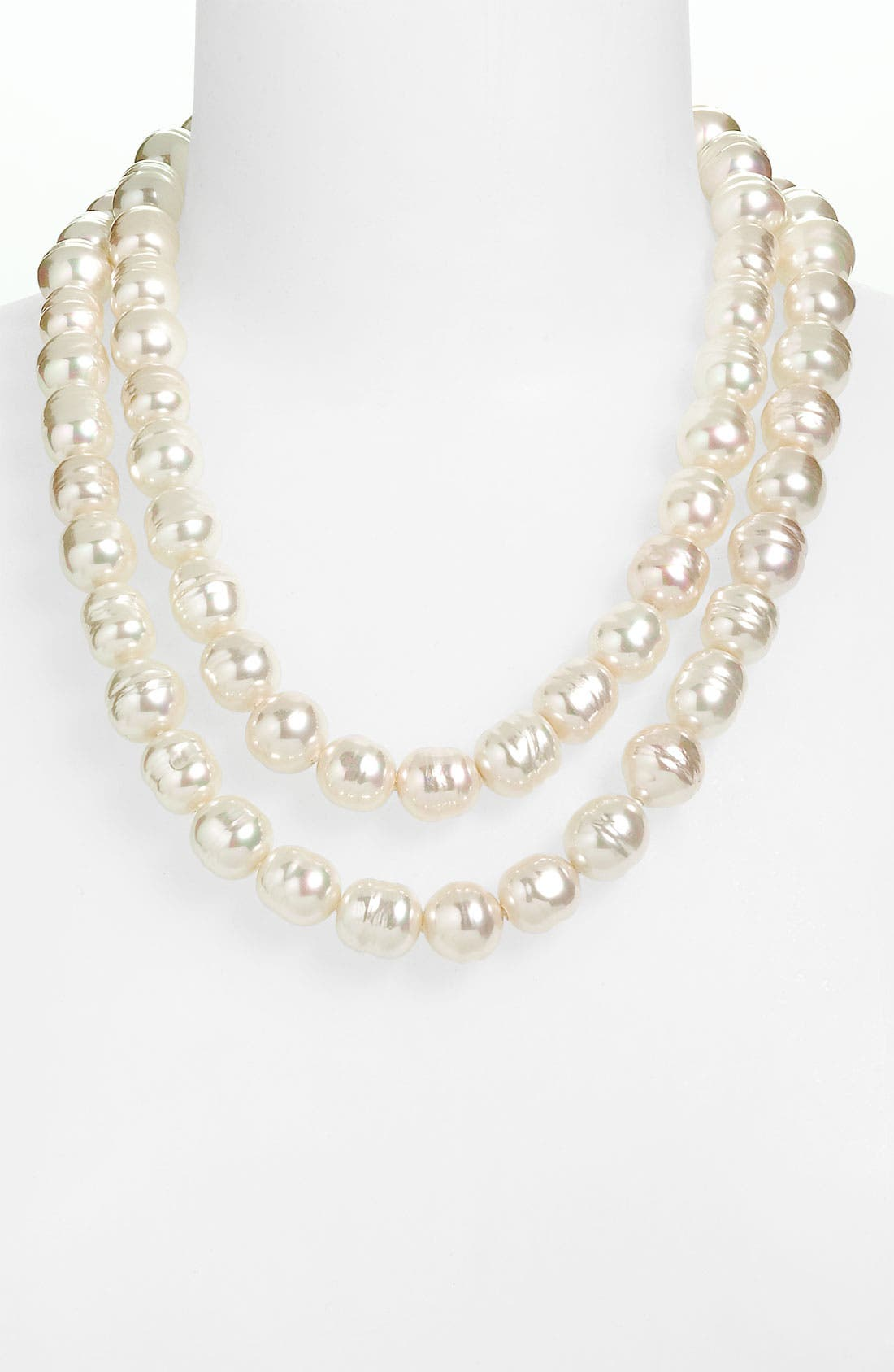 Main Image - Majorica Double Row Baroque Pearl Necklace