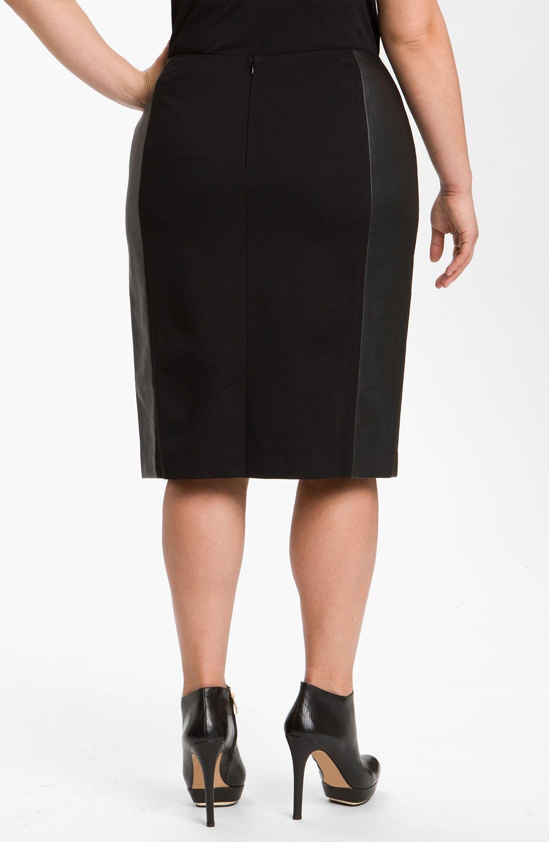 Alternate Image 2  - Sejour Ponte Knit & Faux Leather Skirt (Plus)