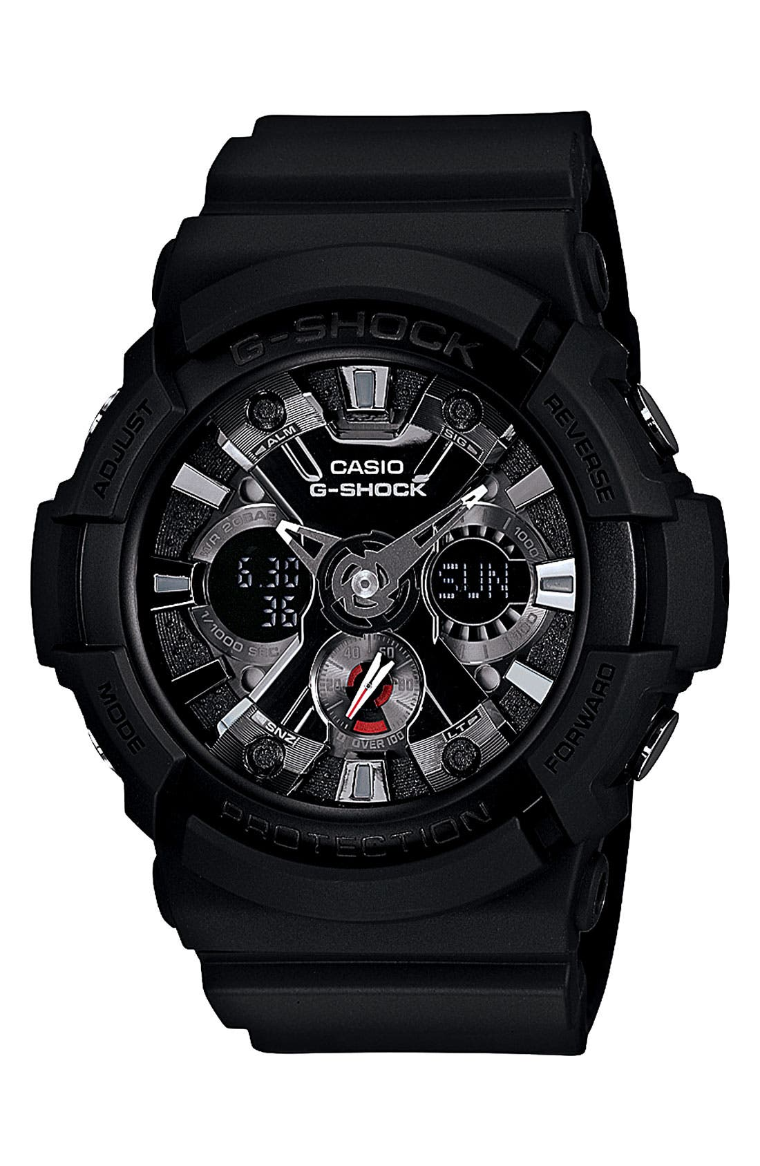 G-Shock X-Large Dual Movement Watch, 55mm,                             Main thumbnail 1, color,                             Black