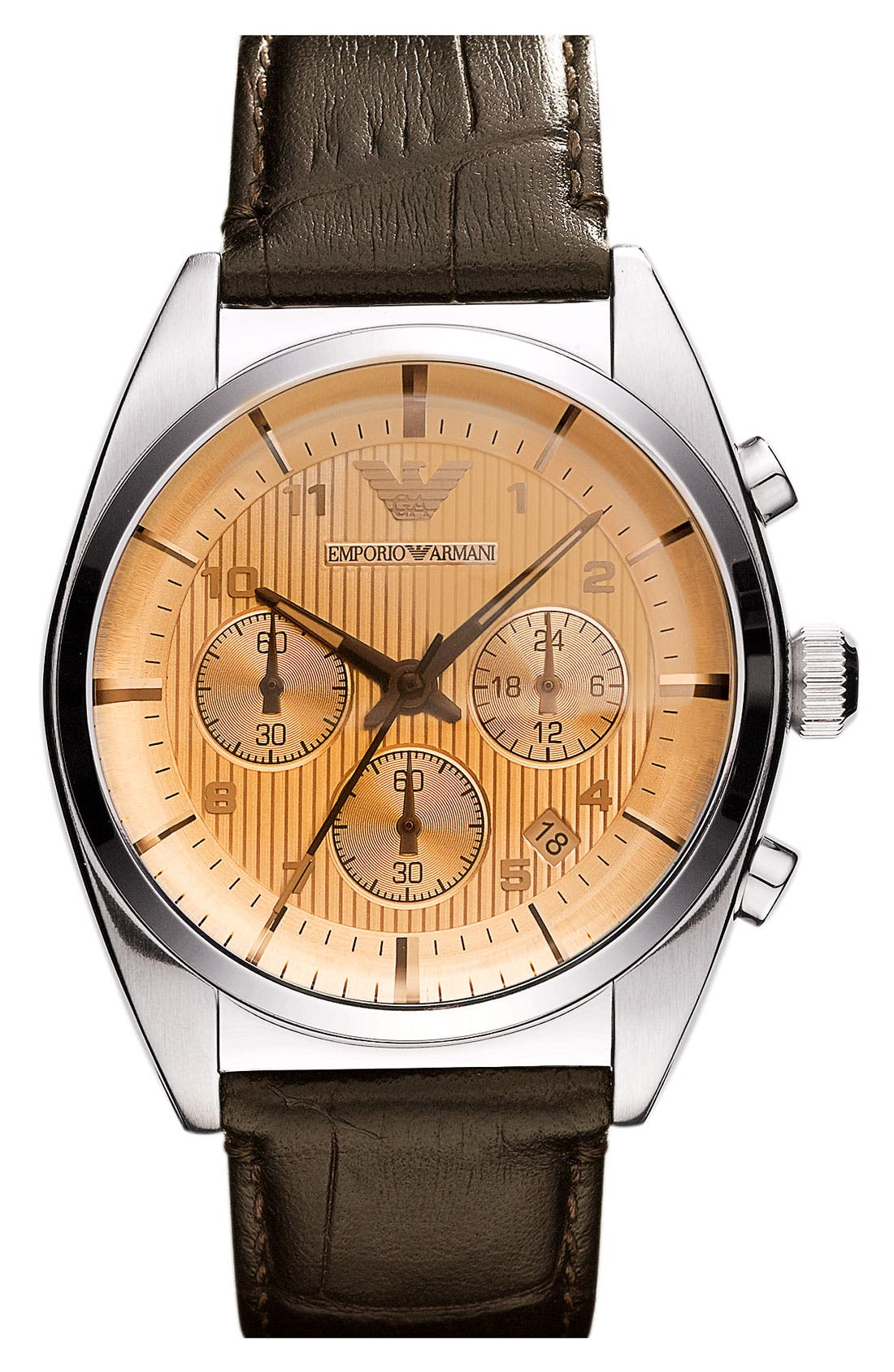 Alternate Image 1 Selected - Emporio Armani Round Leather Strap Watch
