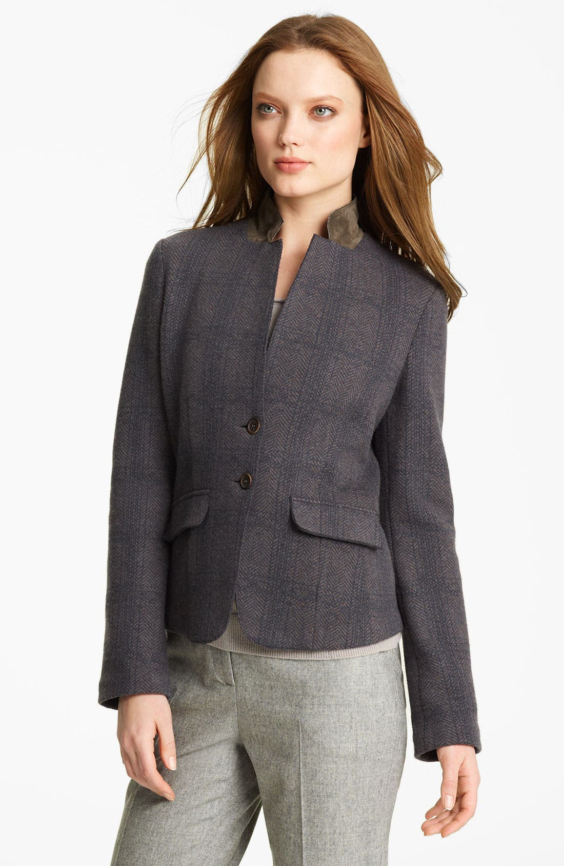 Main Image - Fabiana Filippi Suede Collar Plaid Jacket