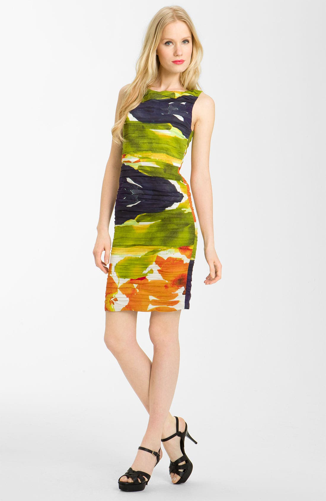 Alternate Image 1 Selected - Alice + Olivia Ruched Stretch Silk Dress