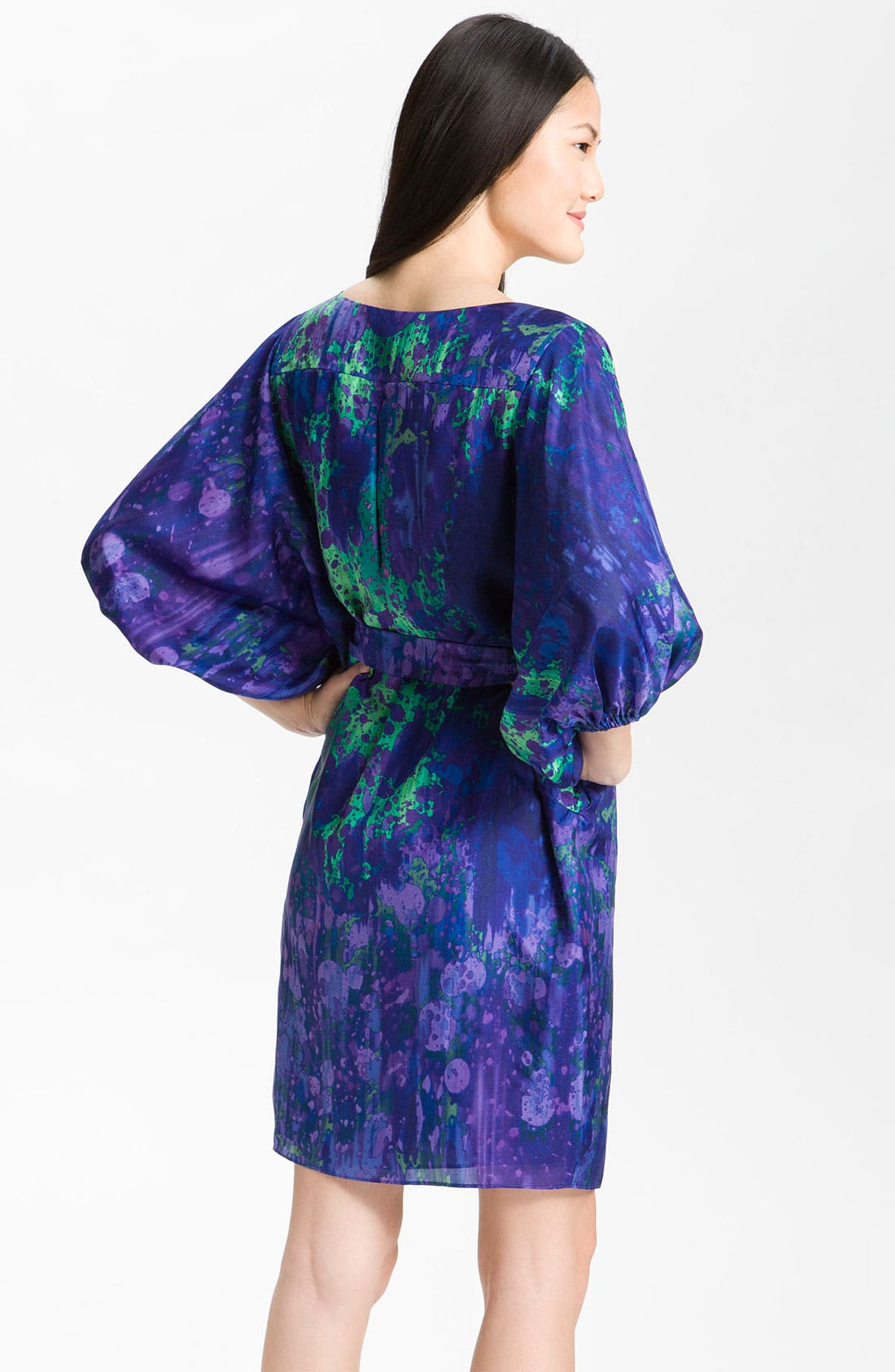 Alternate Image 2  - Suzi Chin for Maggy Boutique Blouson Silk Charmeuse Dress
