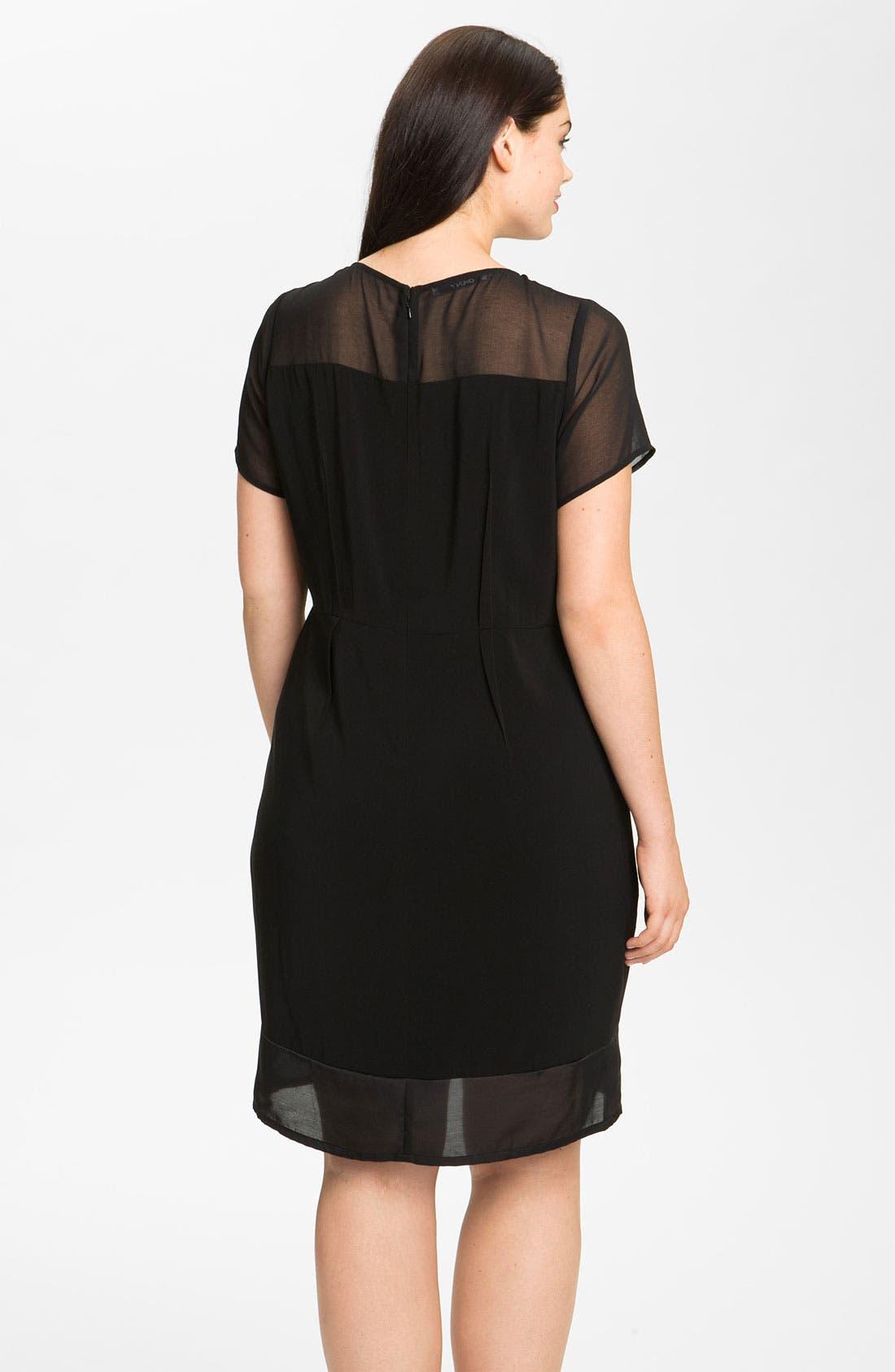 Alternate Image 2  - DKNYC Georgette Trim Shift Dress (Plus)