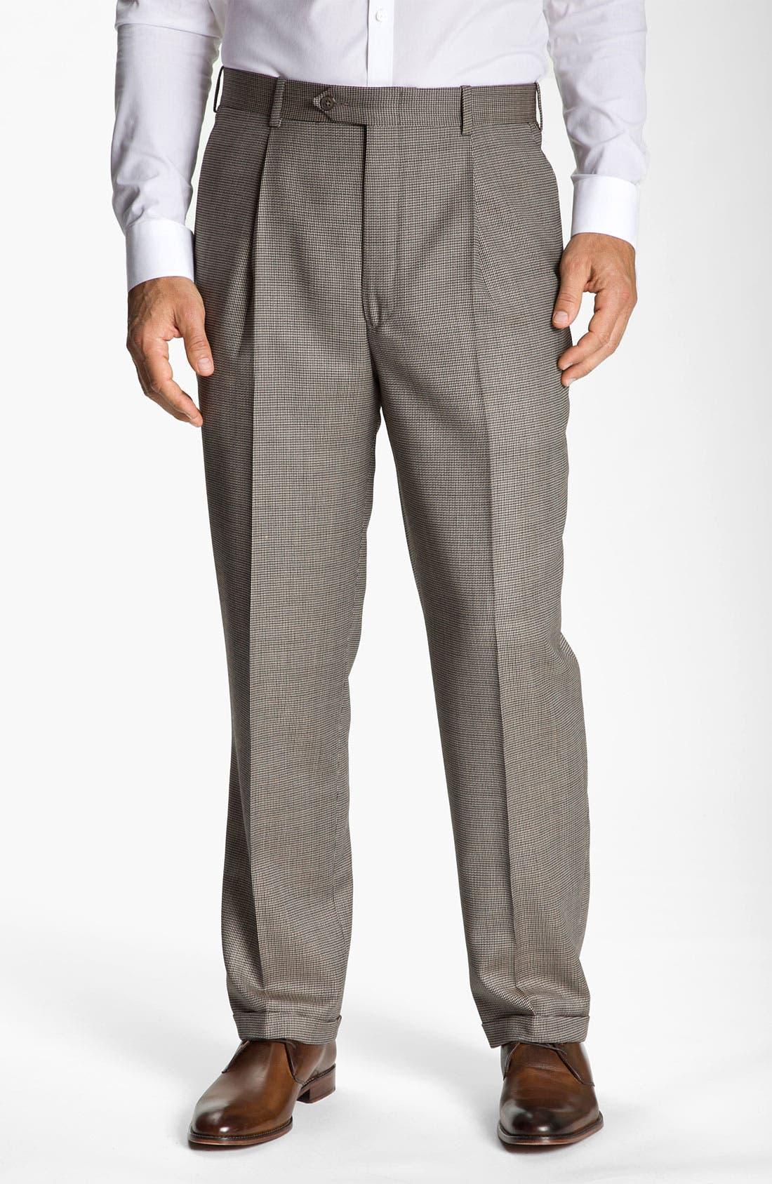 Alternate Image 1 Selected - Di Milano Uomo Single Pleat Trousers