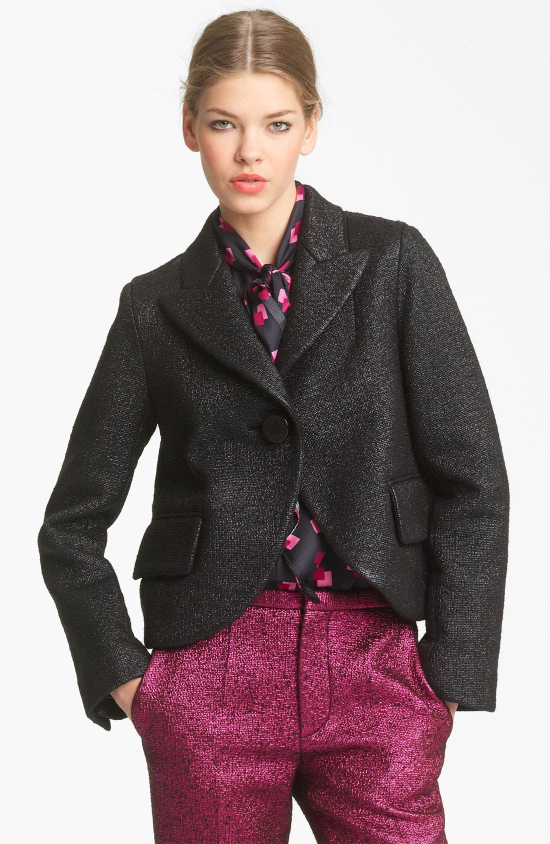 Main Image - MARC JACOBS Bouclé Lamé Crop Jacket